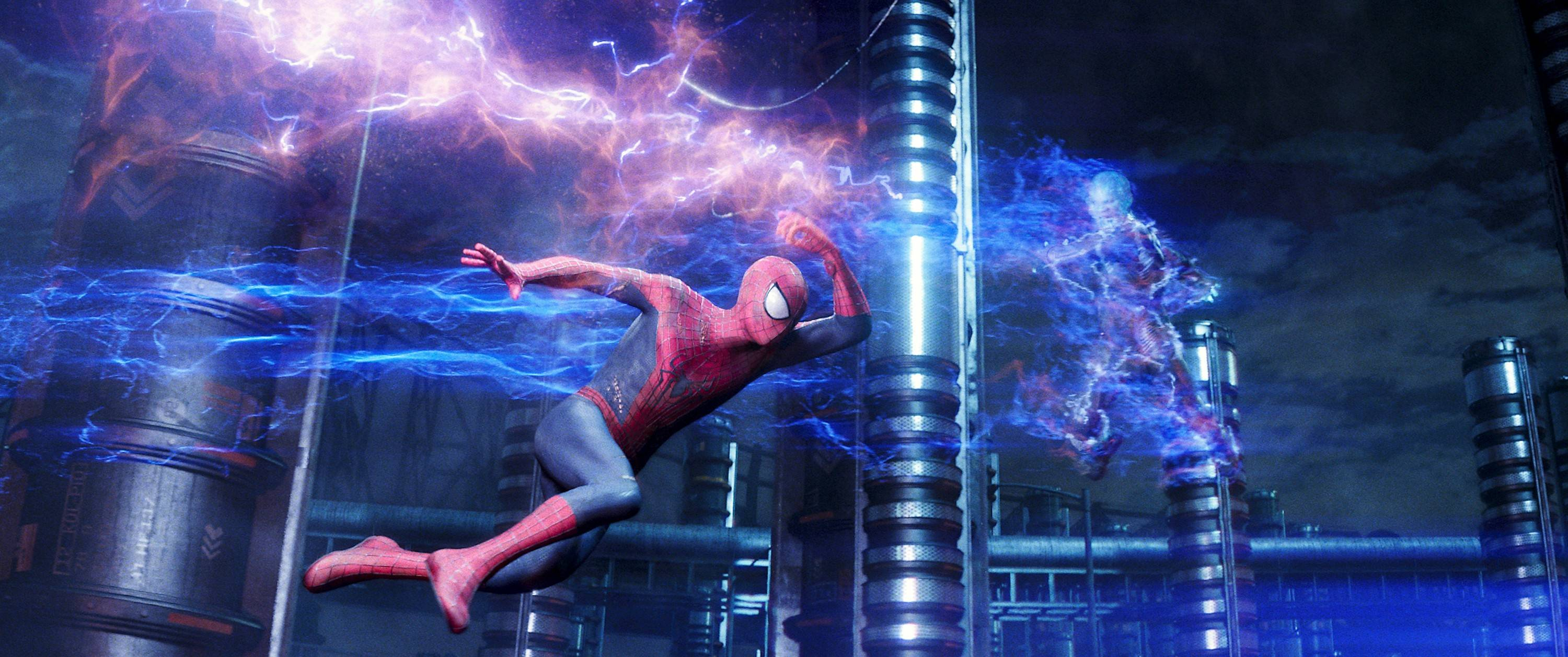 "Andrew Garfield, left, and Jamie Foxx star in ""The Amazing Spider-Man 2."" The soundtrack was a creative effort between Pharrell Williams, Hans Zimmer and others."