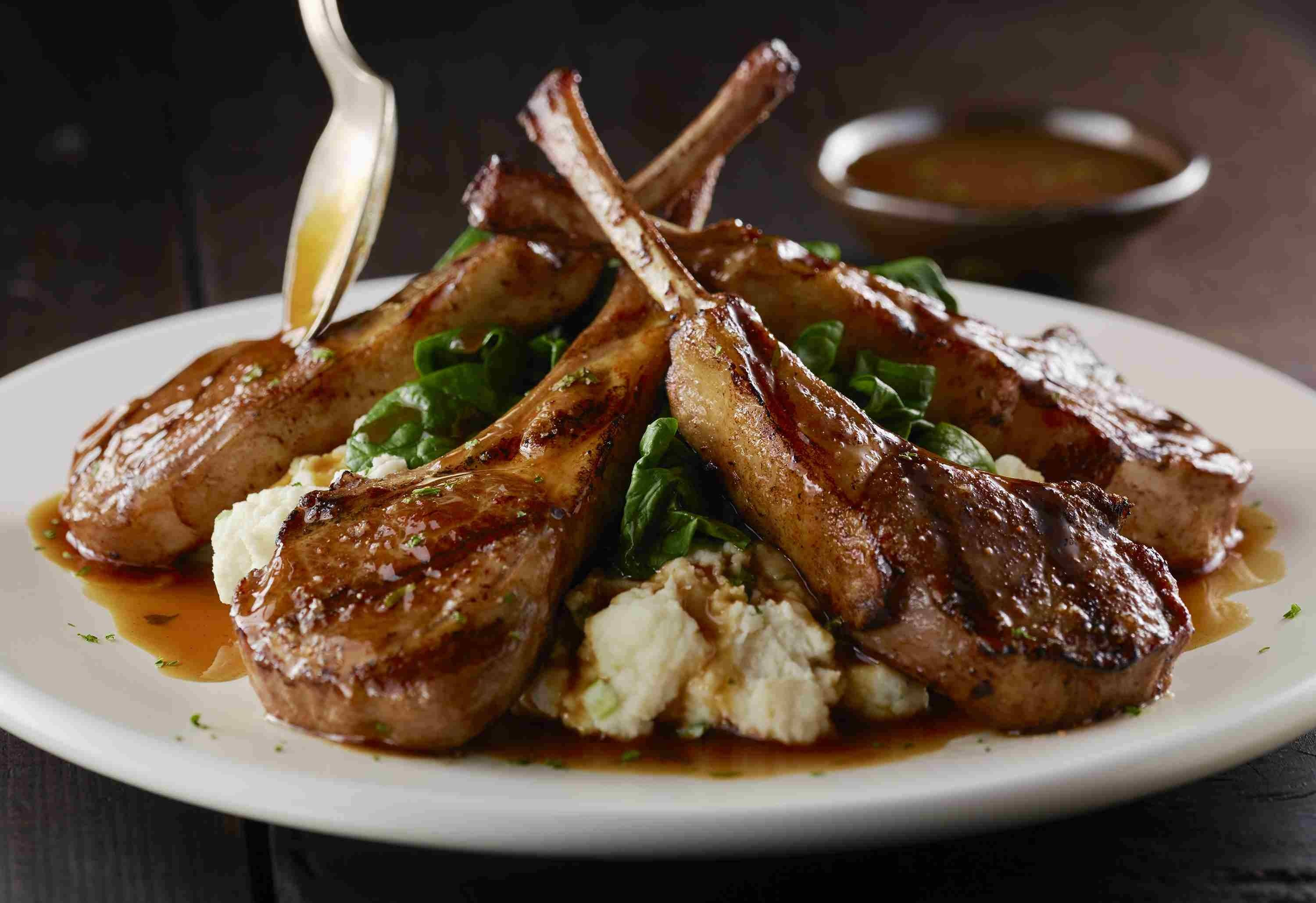 LongHorn Steakhouse recently added these bone-in lamb chops to the chef's showcase menu. It comes served with horseradish-whipped mashed potatoes and wilted spinach for $19.99.
