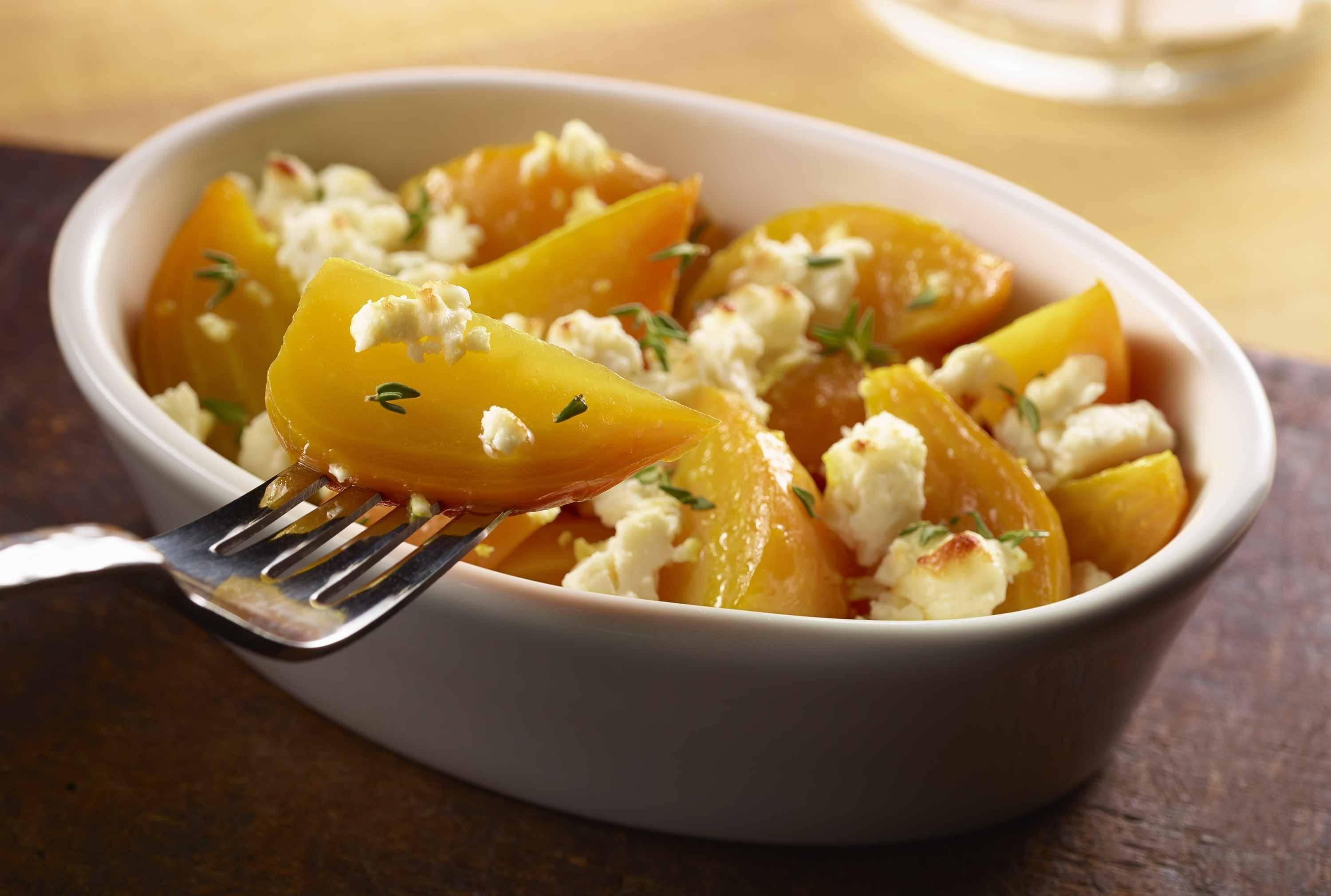 Roasted golden beets with melted goat cheese recently joined the LongHorn Steakhouse's side dishes. It costs $3.99.