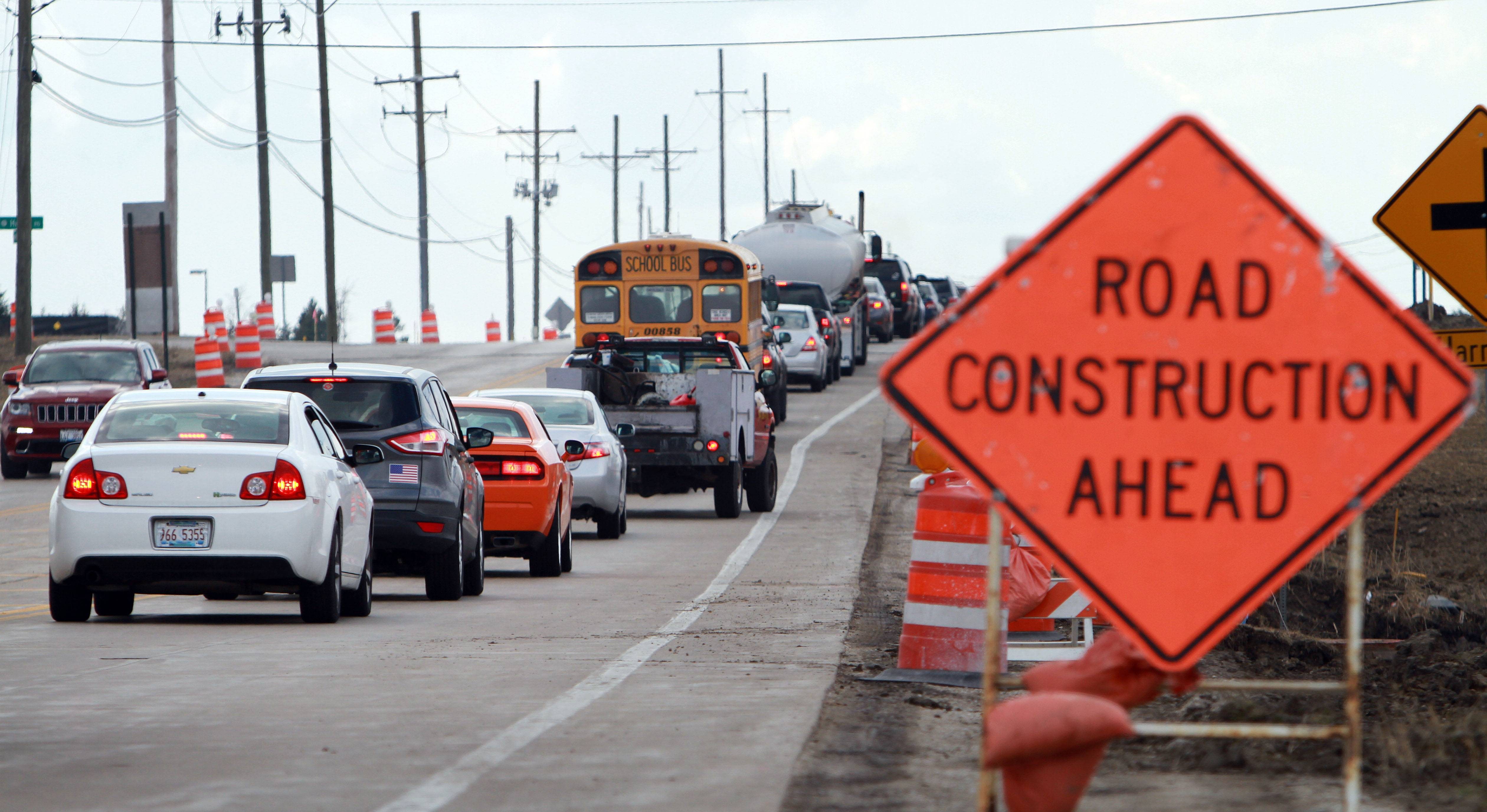 Traffic backs up on Peterson Road near Midlothian Road. Work on the $10.8 million project to widen Midlothian to west of Route 83 began this week.