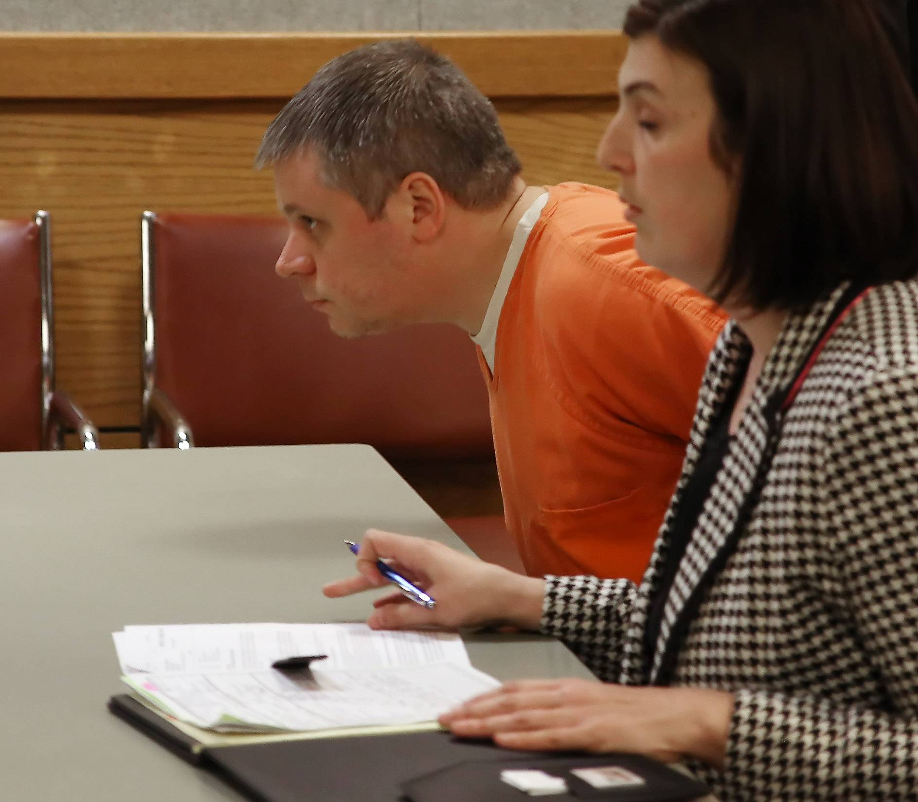 James P. Eaton, charged in the 1997 murder of 14-year-old Palatine resident Amber Creek, with his Public Defender Katie Gutowski during his first appearance in a Racine County courtroom since his arrest over the weekend.