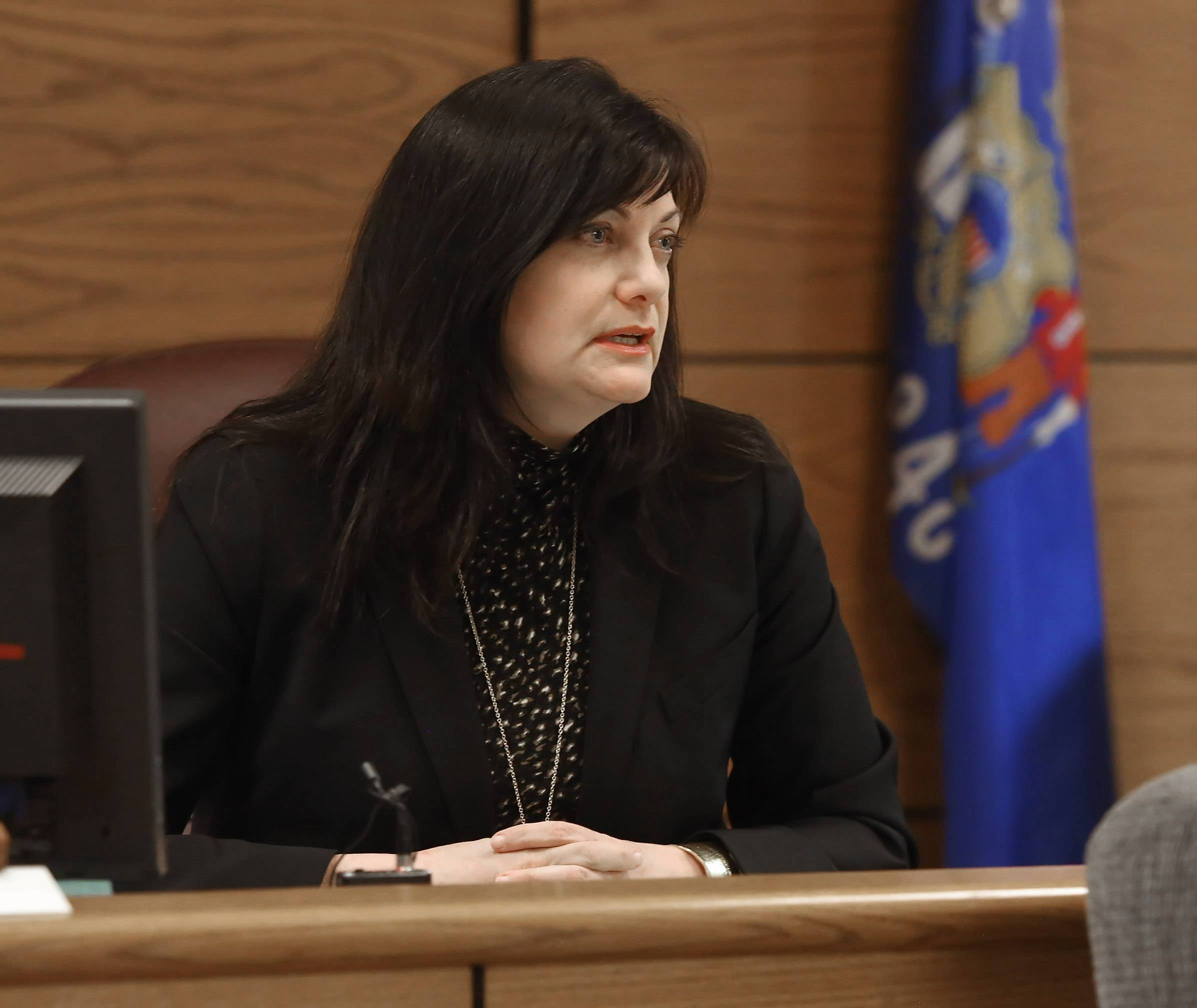 Racine County Court Commissioner Alice Rudebusch hears the charges against James P. Eaton, suspected in the 1997 murder of 14-year-old Palatine resident Amber Creek. Eaton, 36, on Wednesday made his first court appearance in Racine County since his weekend arrest.