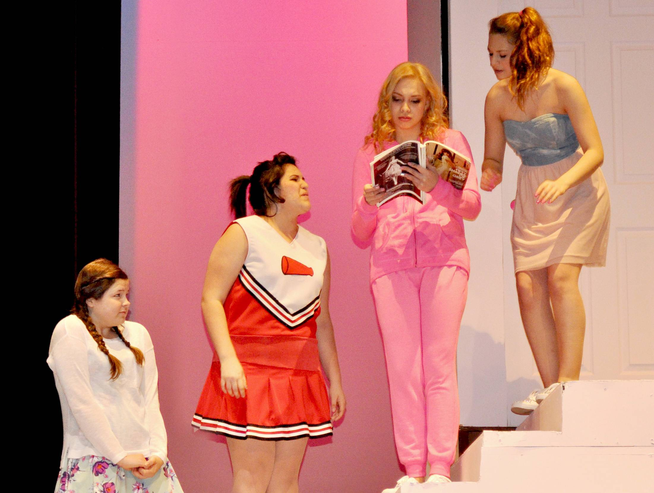 "During a rehearsal for Larkin High School's production of ""Legally Blonde -- the Musical,"" Grace Rockenhauser, Melanie Lopez, Samantha Jurek, and Pricilla Torres rehearse a scene in which Elle's best friends try to cheer her up."