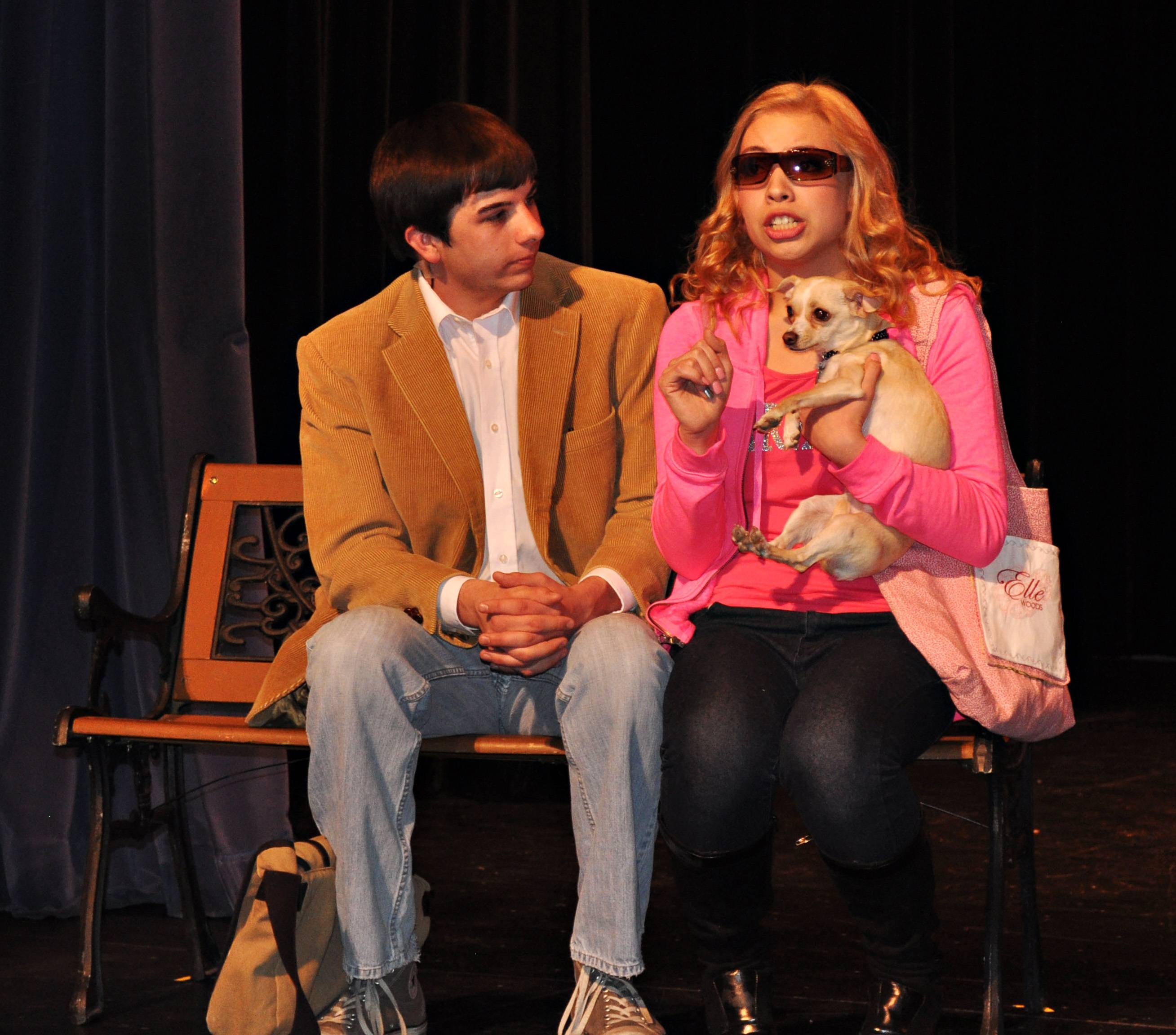 "Pricilla Torres as Elle and Eric Richter as Emmett meet at Harvard University during a scene from ""Legally Blonde -- the Musical"" at Larkin High School."