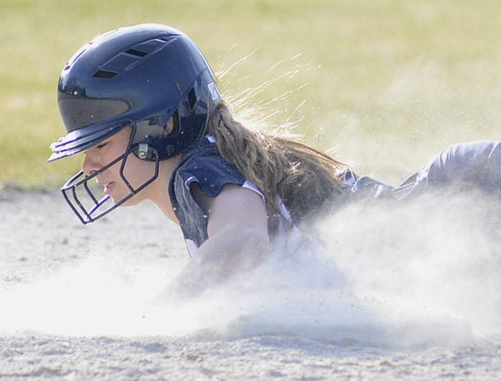 Neuqua Valley's Jenny Budds is safe at second base in the fourth inning on Wednesday, April 9.
