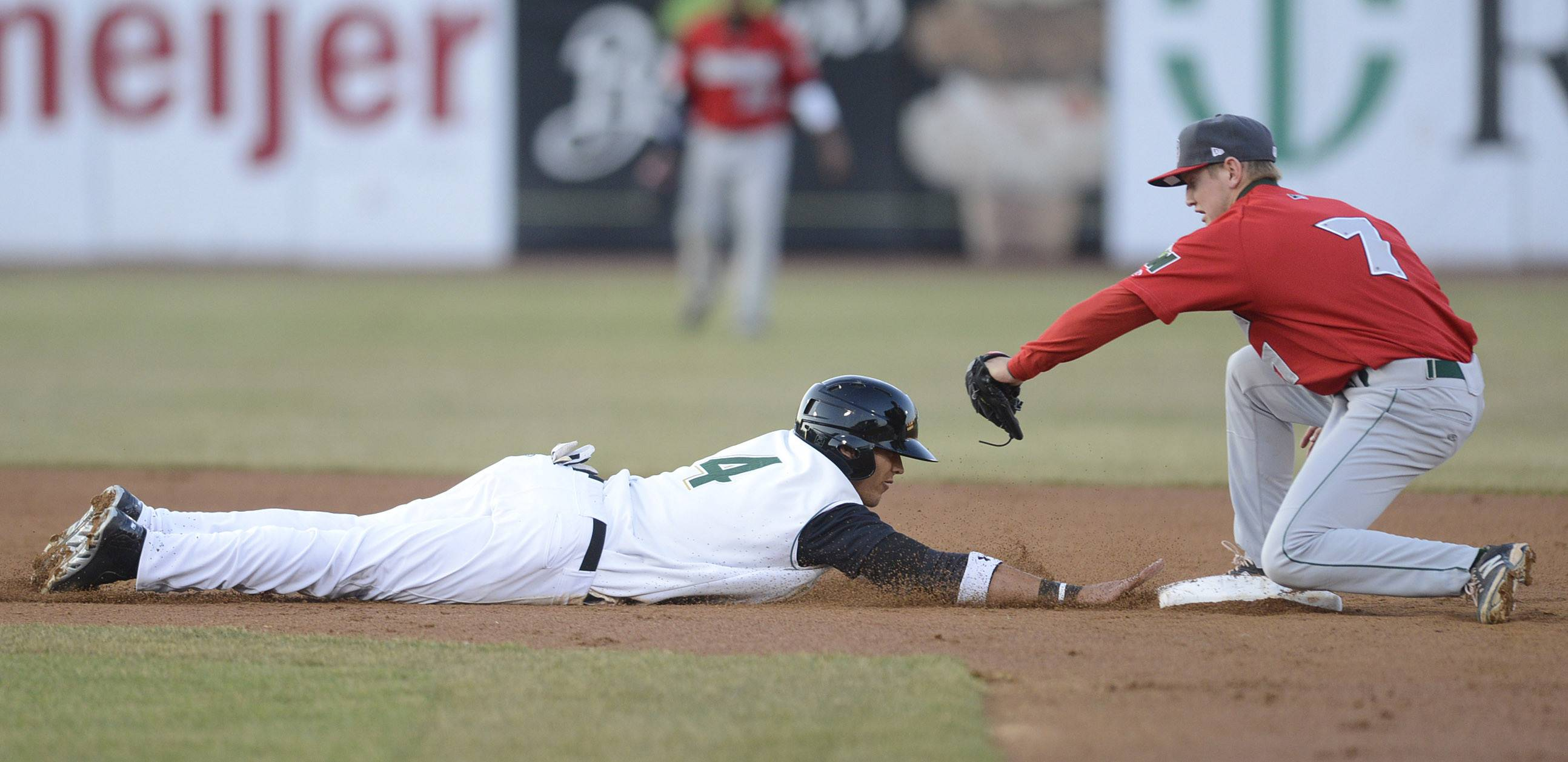 Kane County Cougars center fielder Jake Hannemann is safe at second base from Fort Wayne TinCaps' Josh VanMeter in the second inning.
