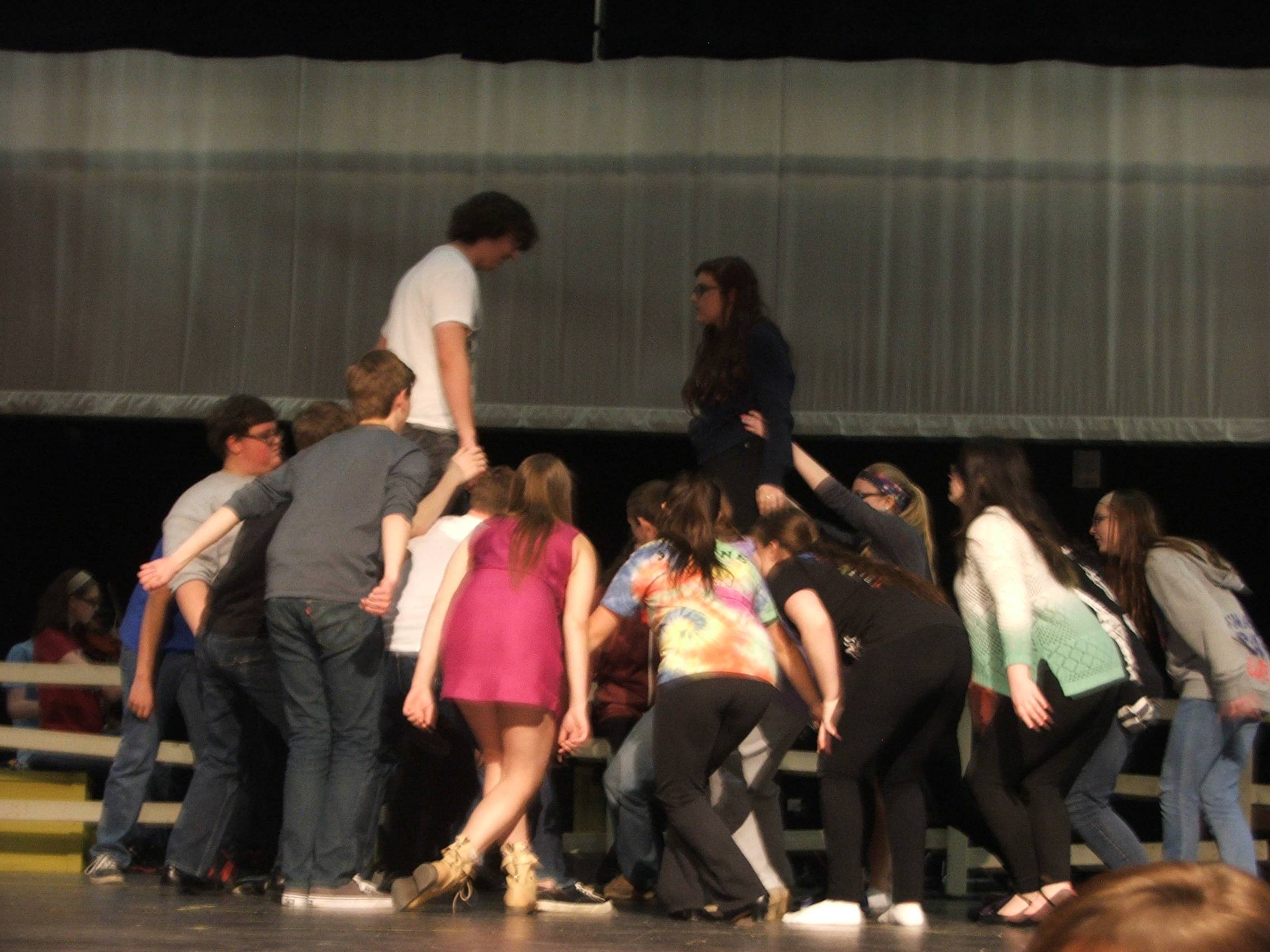 The Cast of the ACHS musical Oklahoma rehearsing the Dream Ballet at the end of Act OneMike Shepherd