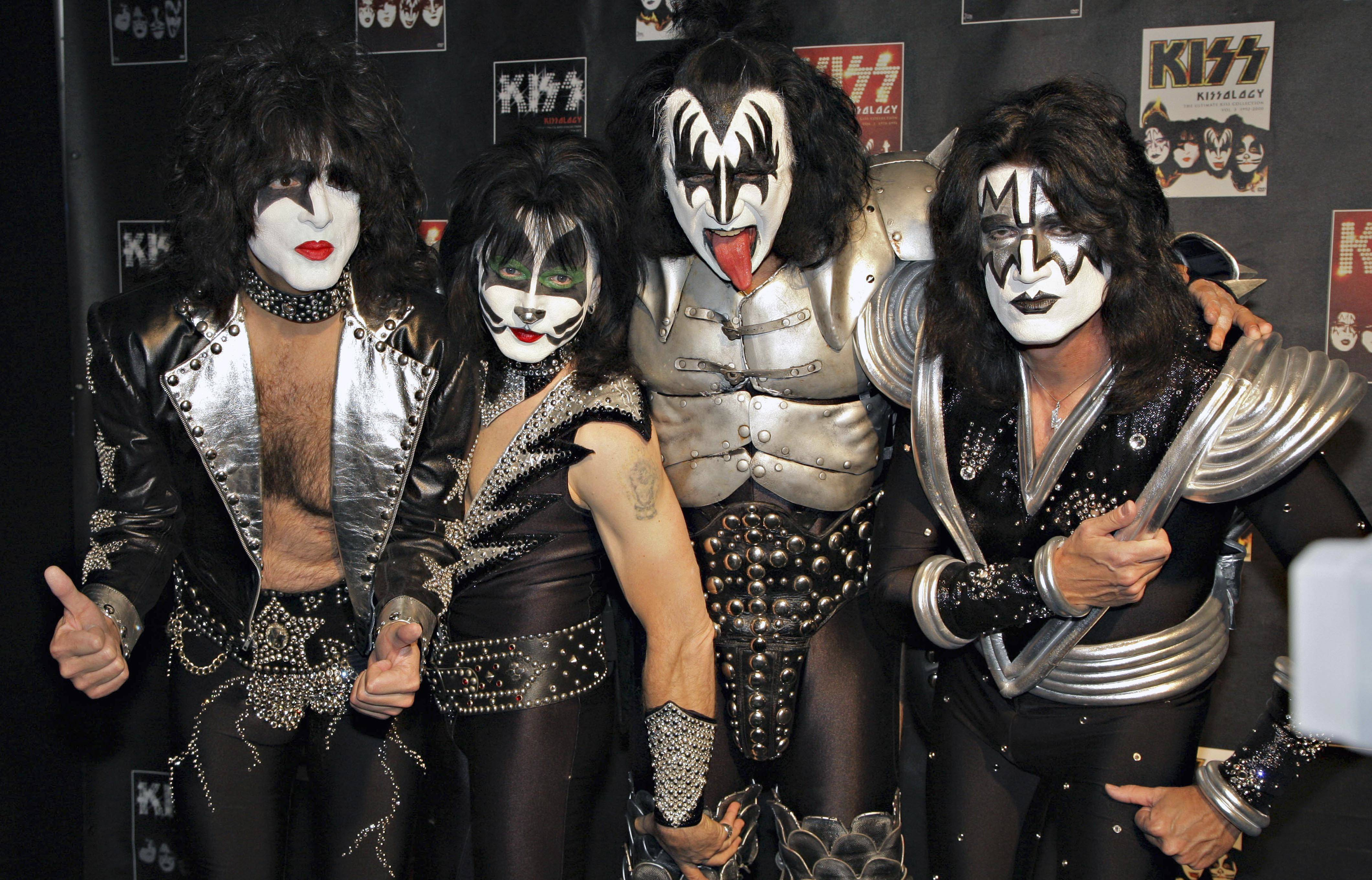 Members of Kiss, from left, Paul Stanley, Eric Singer, Gene Simmons and Tommy Thayer. Kiss is angry with the Rock and Roll Hall of Fame over the organization's decision only to induct original members Paul Stanley, Gene Simmons, Peter Criss and Ace Frehley while excluding members who joined later.