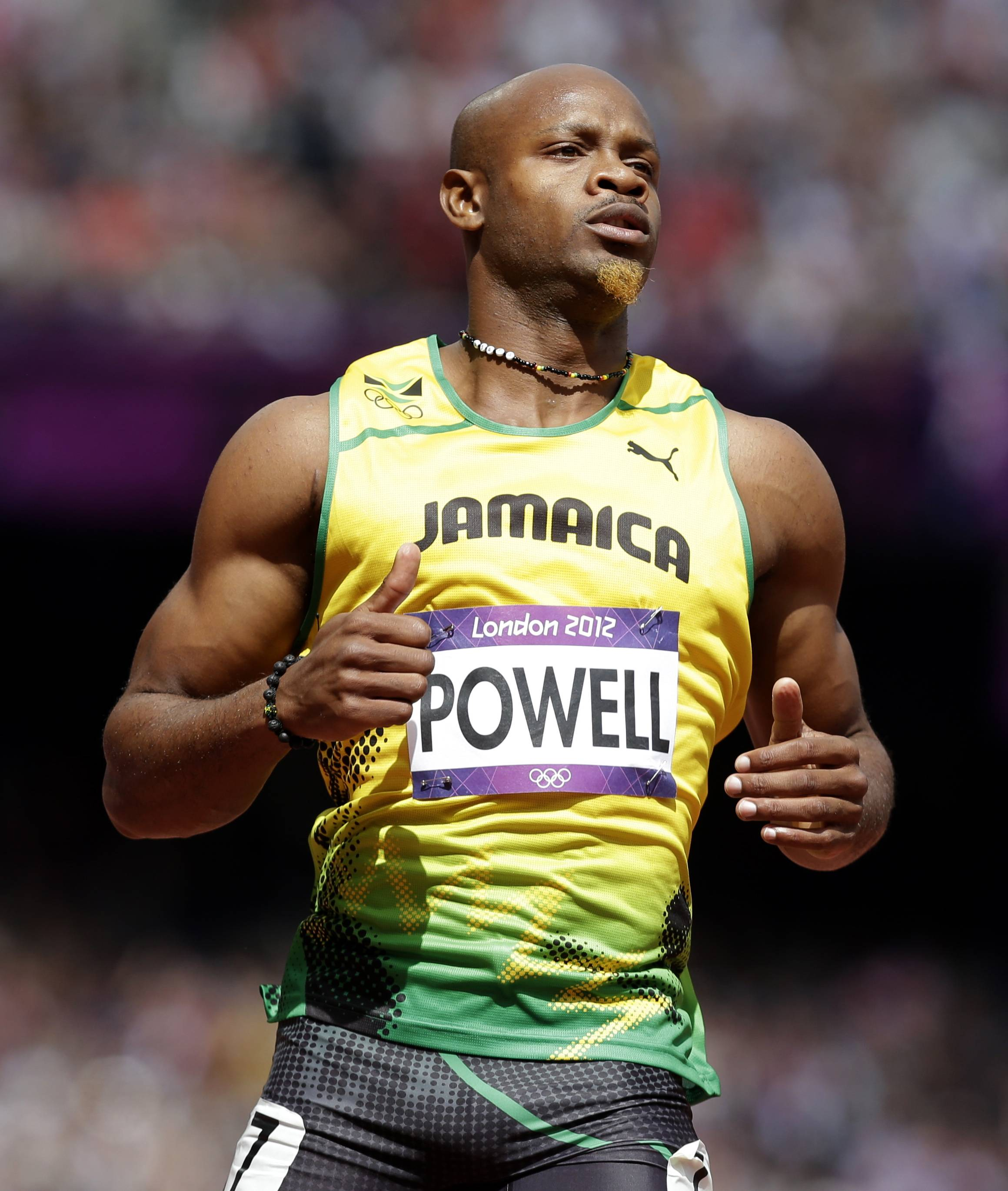 Sprinter Asafa Powell tested positive for the banned stimulant oxilofrone.