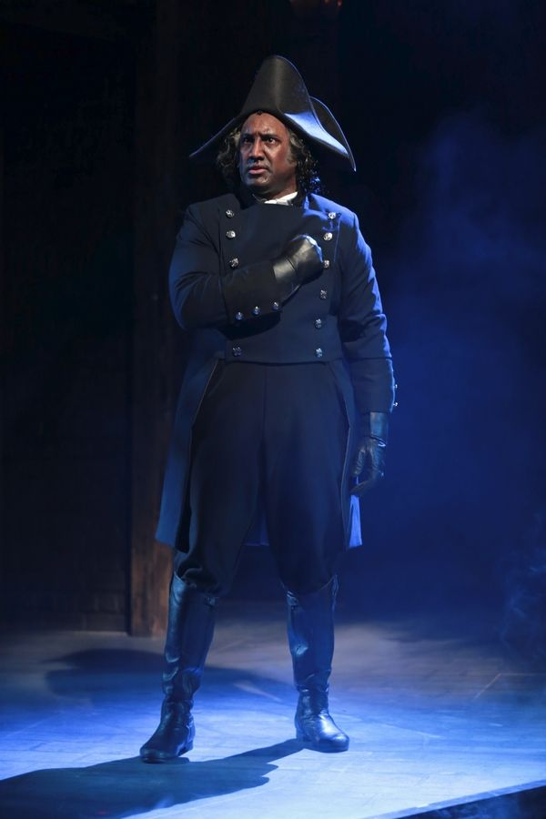 "The police inspector Javert (Quentin Earl Darrington) asks for spiritual guidance in his pursuit of Jean Valjean in the song ""Stars"" in ""Les Misérables"" at the Drury Lane Theatre in Oakbrook Terrace."