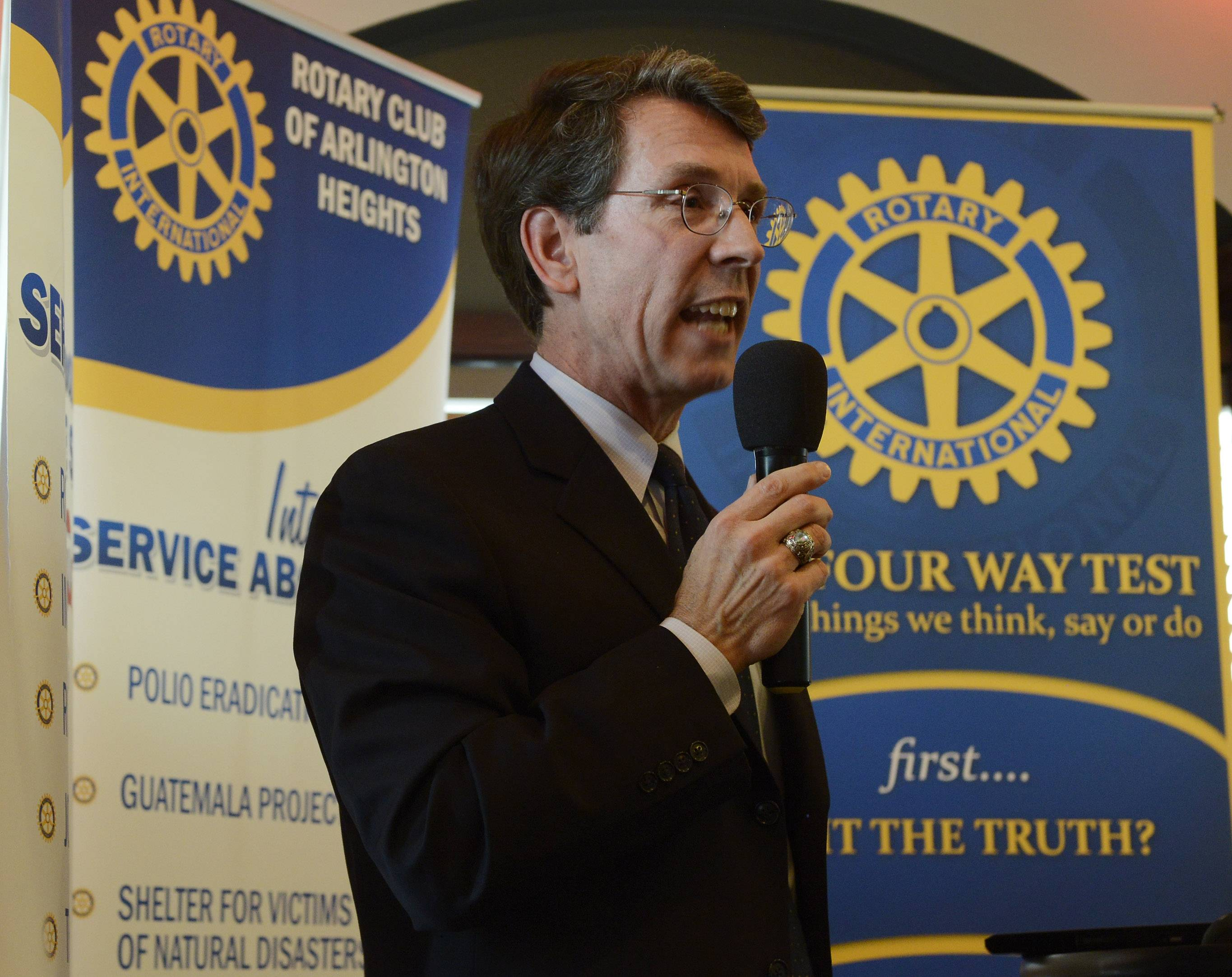 Arlington Heights Mayor Tom Hayes gives his first State of the Village address to the Arlington Heights Rotary Club Thursday at Clementi's Restaurant.