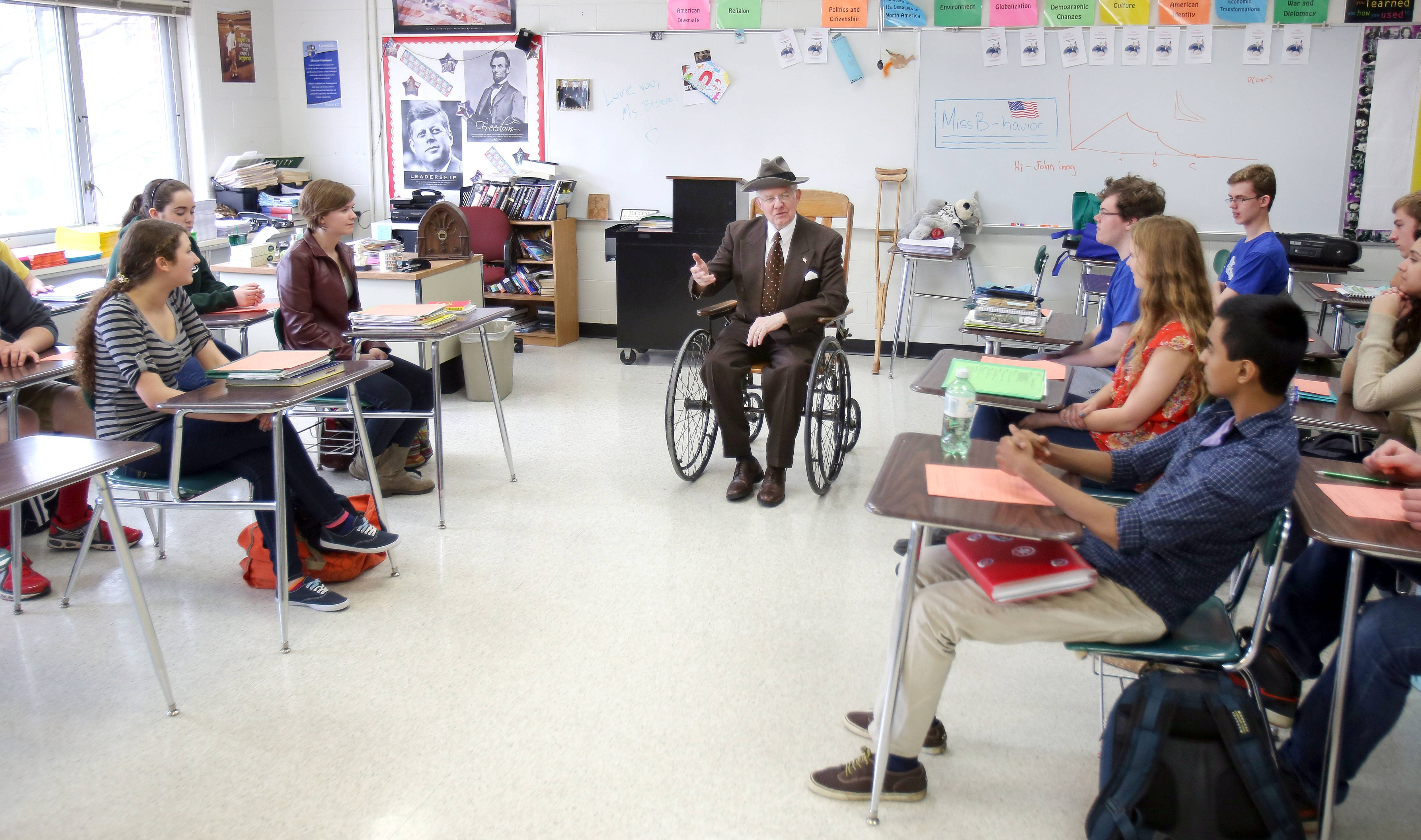 "Franklin Delano Roosevelt impressionist Ed O'Brien of Harvard performs his ""New Deal"" program for juniors in Adrijana Bisevac's AP U.S. History class at Grayslake Central High School Thursday."