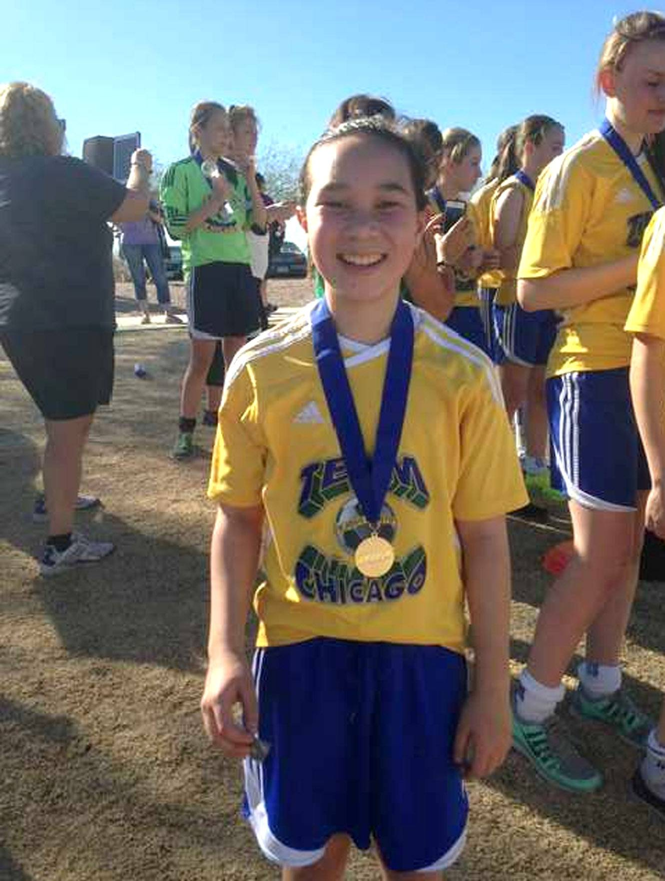 Courtesy of Ken SwedaErin Sweda, 13, of Naperville, will be competing at a soccer tournament in Barcelona this month after being chosen as one of 12 players from the area and 48 from the country to make the team.