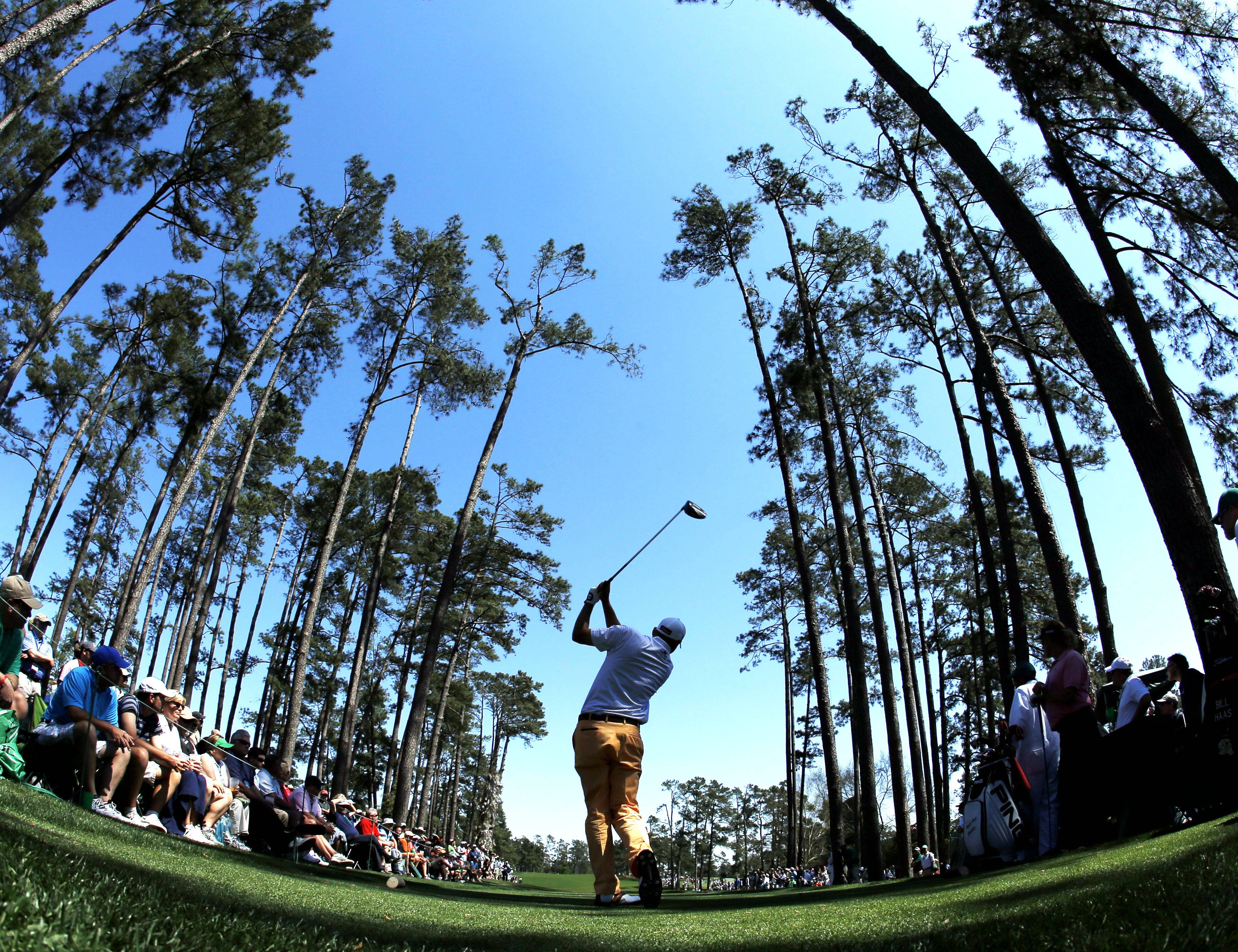 Bill Haas tees off on the 17th hole during the first round of the Masters golf tournament Thursday, April 10, 2014, in Augusta, Ga.