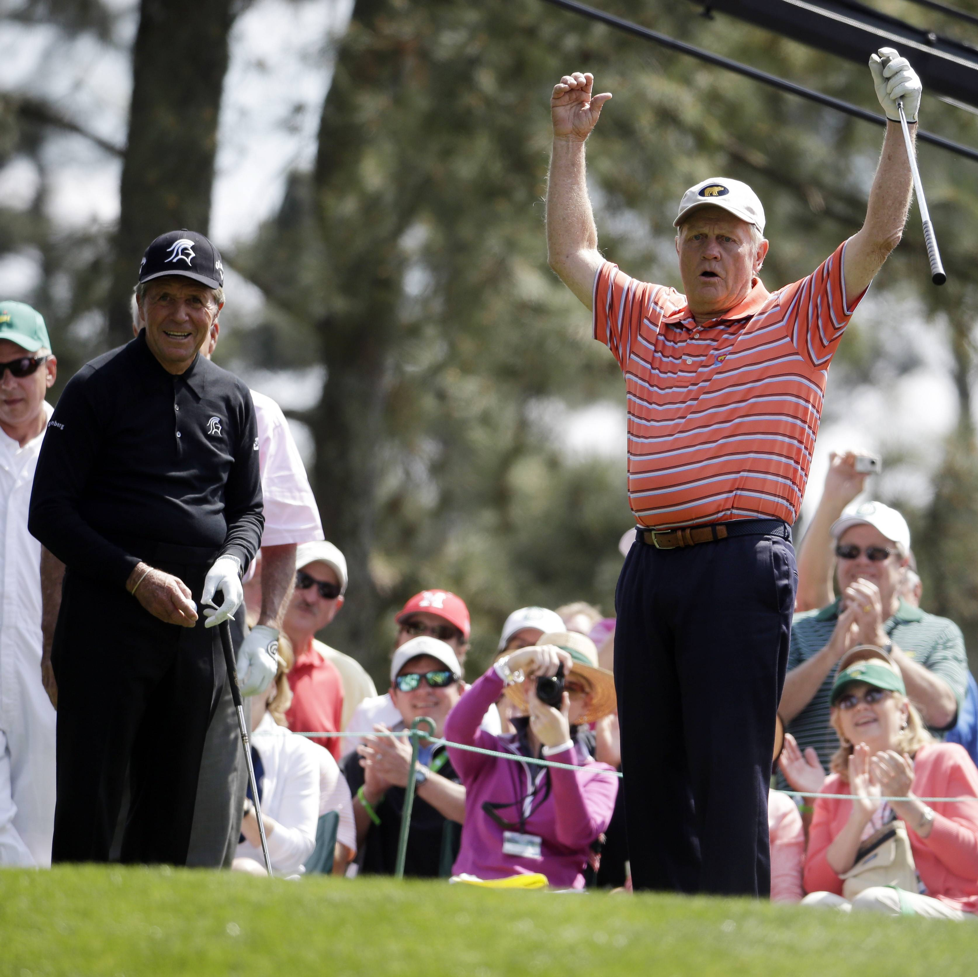 Gary Player, left, watches as Jack Nicklaus reacts to his tee shot on the first hole during the Masters Par-3 competition Wednesday.