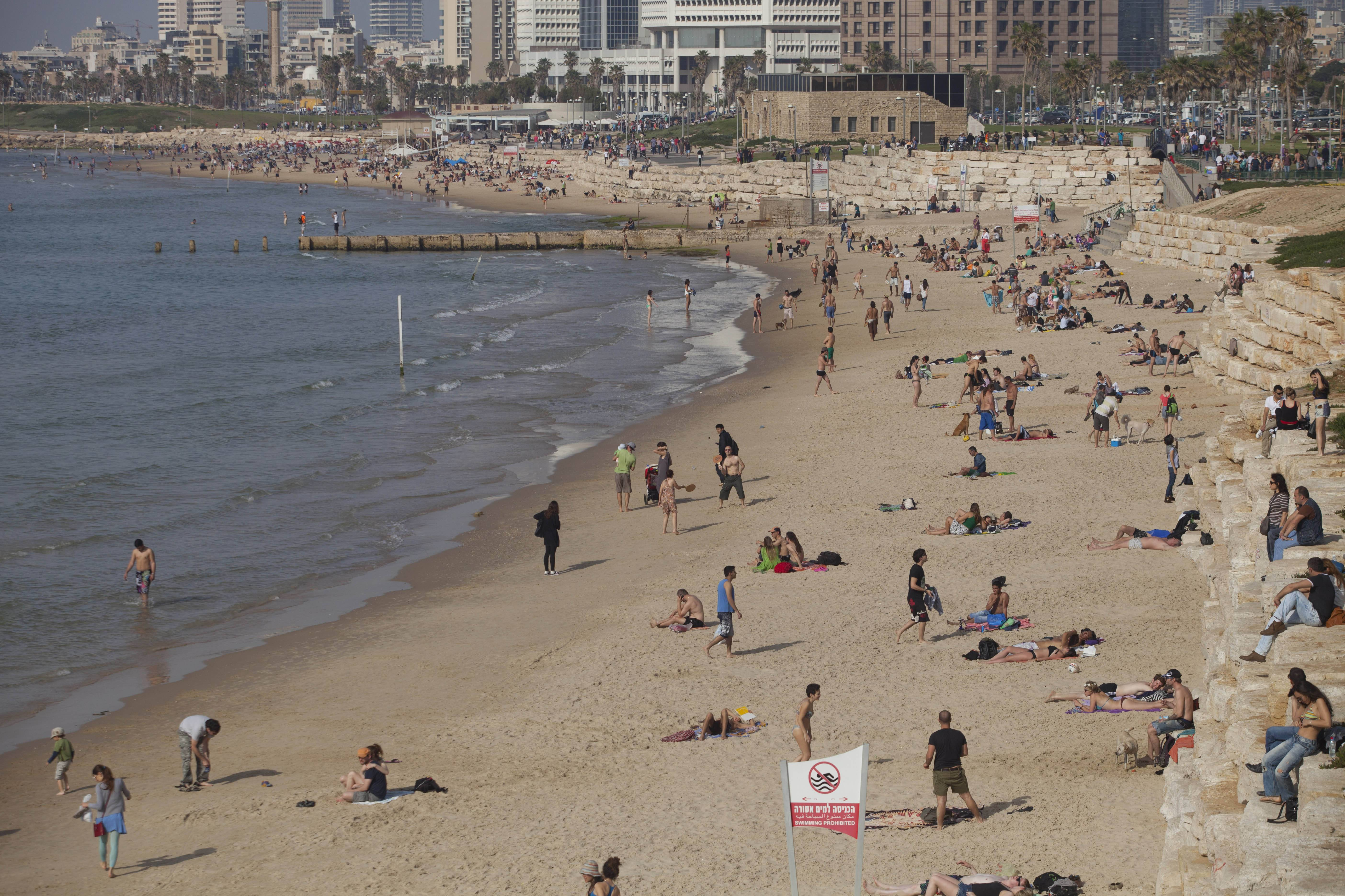 A dozen municipal beaches stretch out along 9 miles of coast in Tel Aviv, Israel, offering ample space for relaxing in the soft sand and dipping in the warm Mediterranean waters. Access is free and some offer extra amenities such as beach volleyball courts and outdoor exercise equipment.