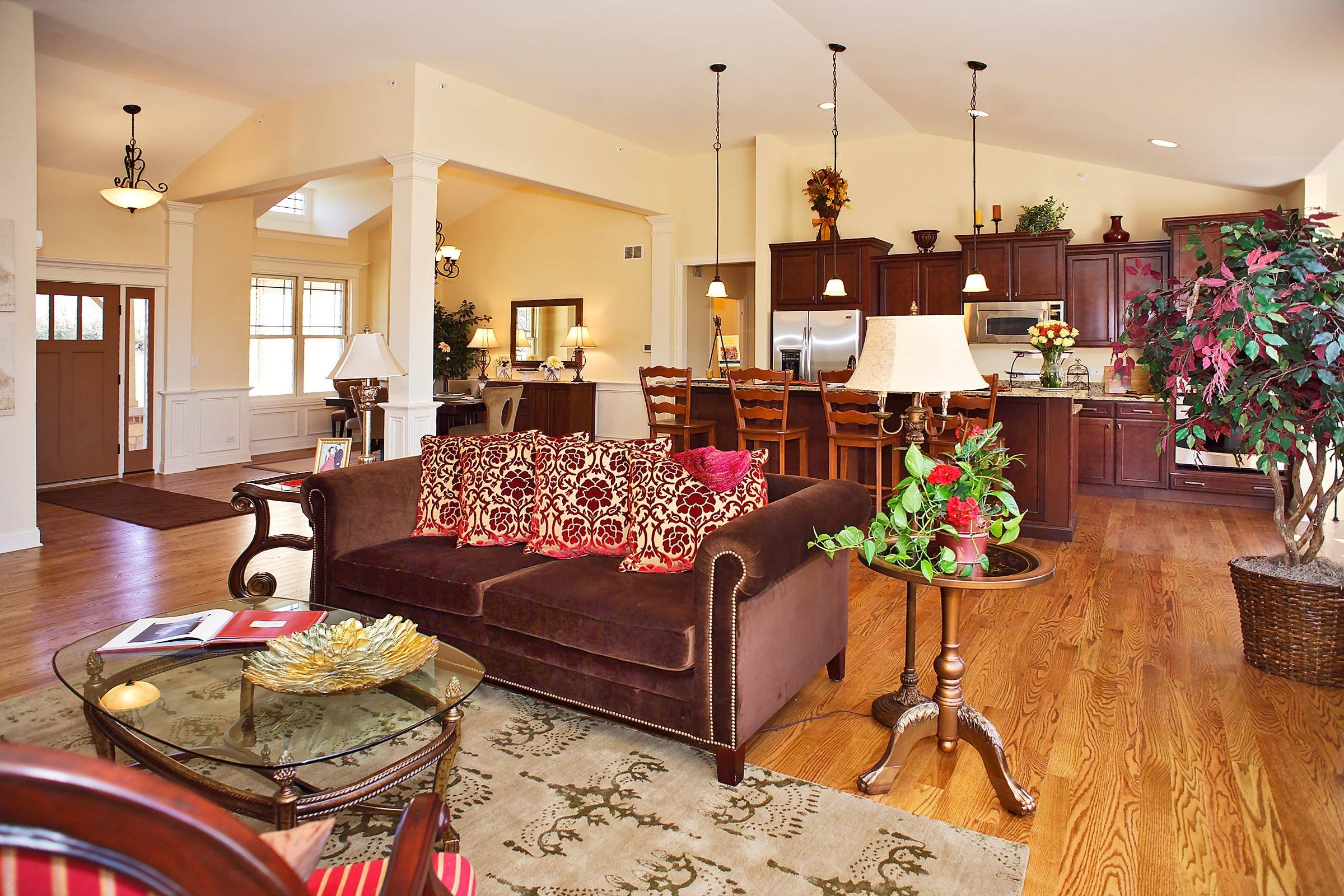 An open floor plan with high ceilings makes the South Haven a popular choice at Henning Estates in Huntley.
