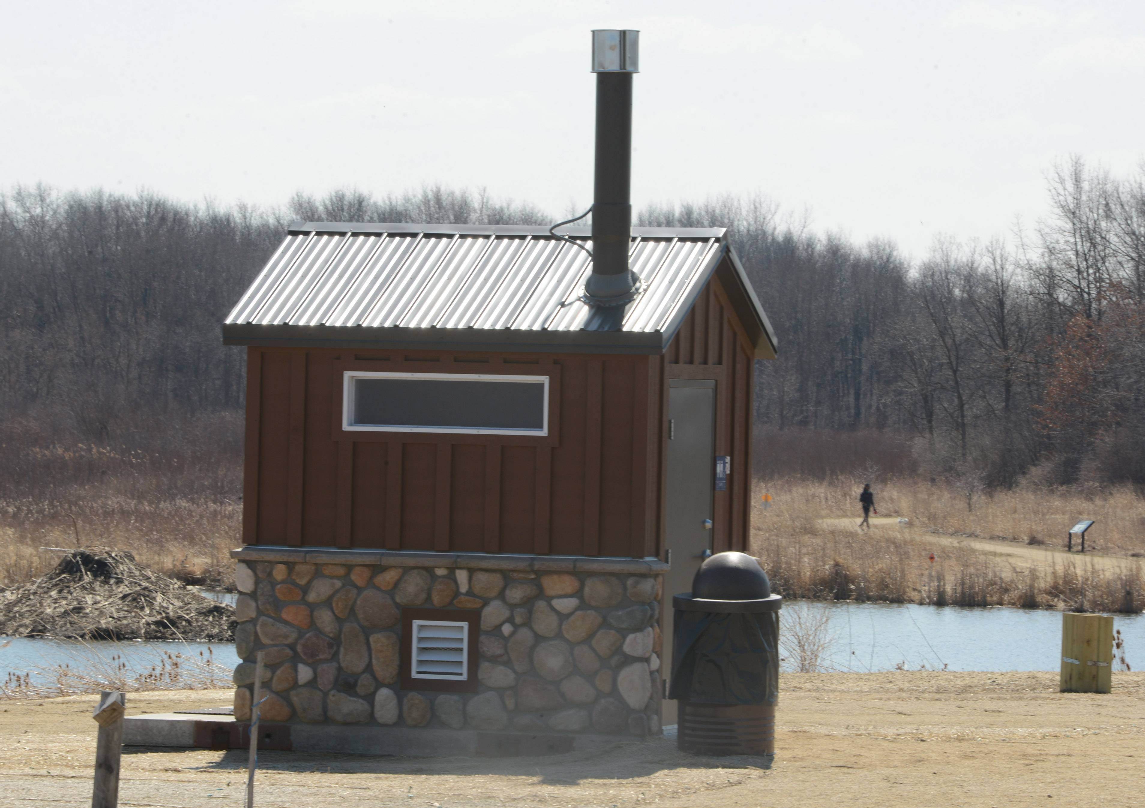 A new bathroom building installed at the Sedge Meadow Forest Preserve off Wadsworth Road features a patented technology designed to eliminate odors.