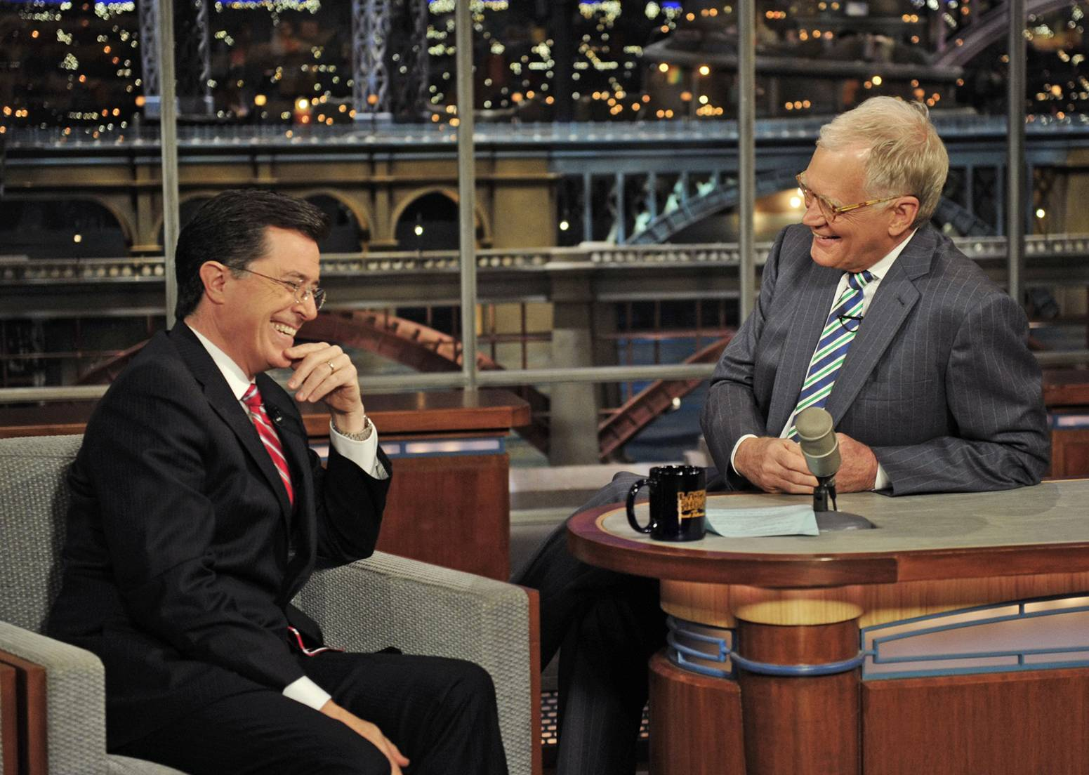"Announced Thursday, Stephen Colbert, left, will be ending the ""Colbert Report"" on Comedy Central to take over as host of the ""Late Show"" on CBS when host David Letterman retires next year."