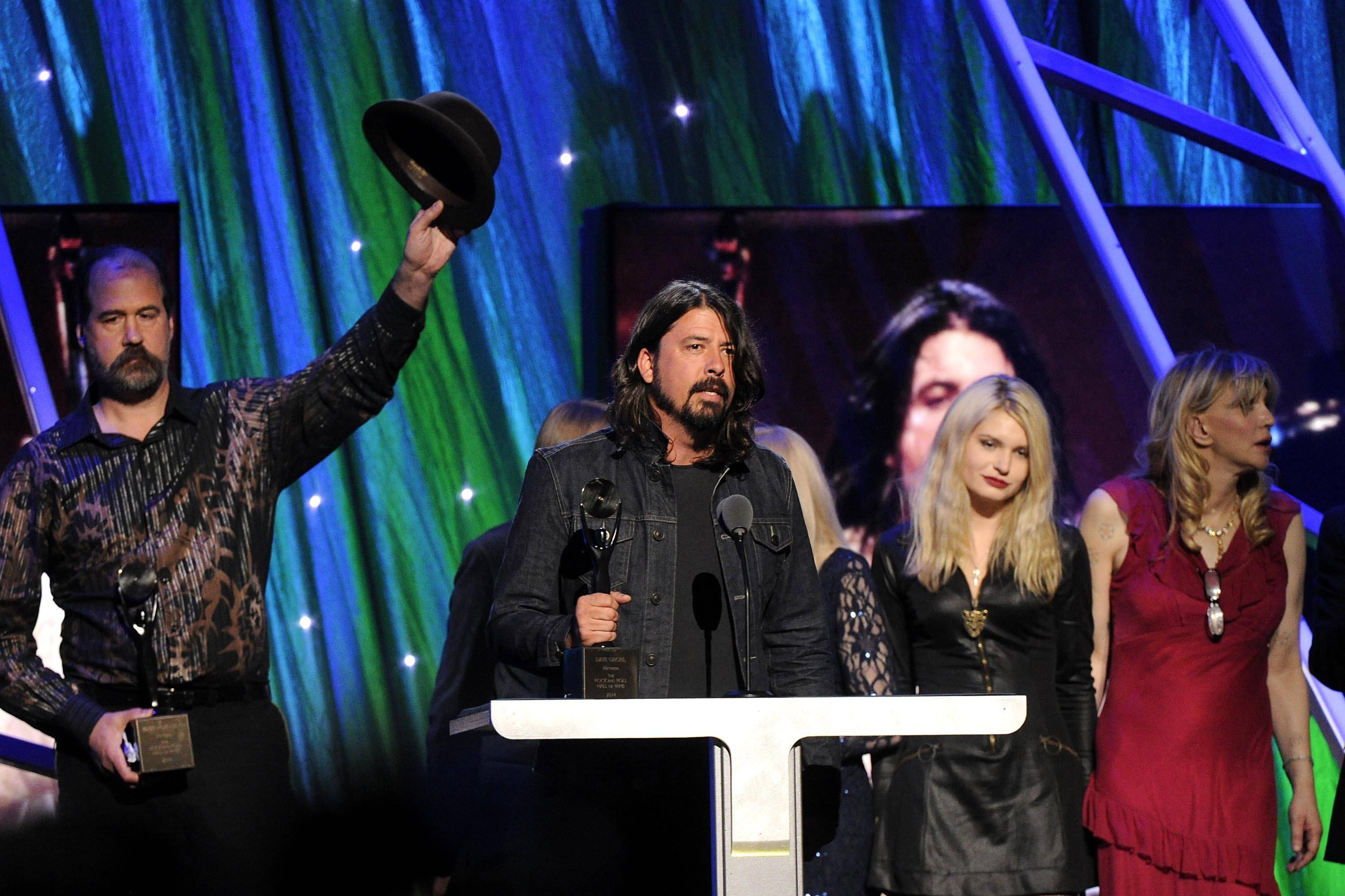 Hall of Fame Inductee of Nirvana, Dave Grohl speaks at the 2014 Rock and Roll Hall of Fame Induction Ceremony on Thursday in New York.