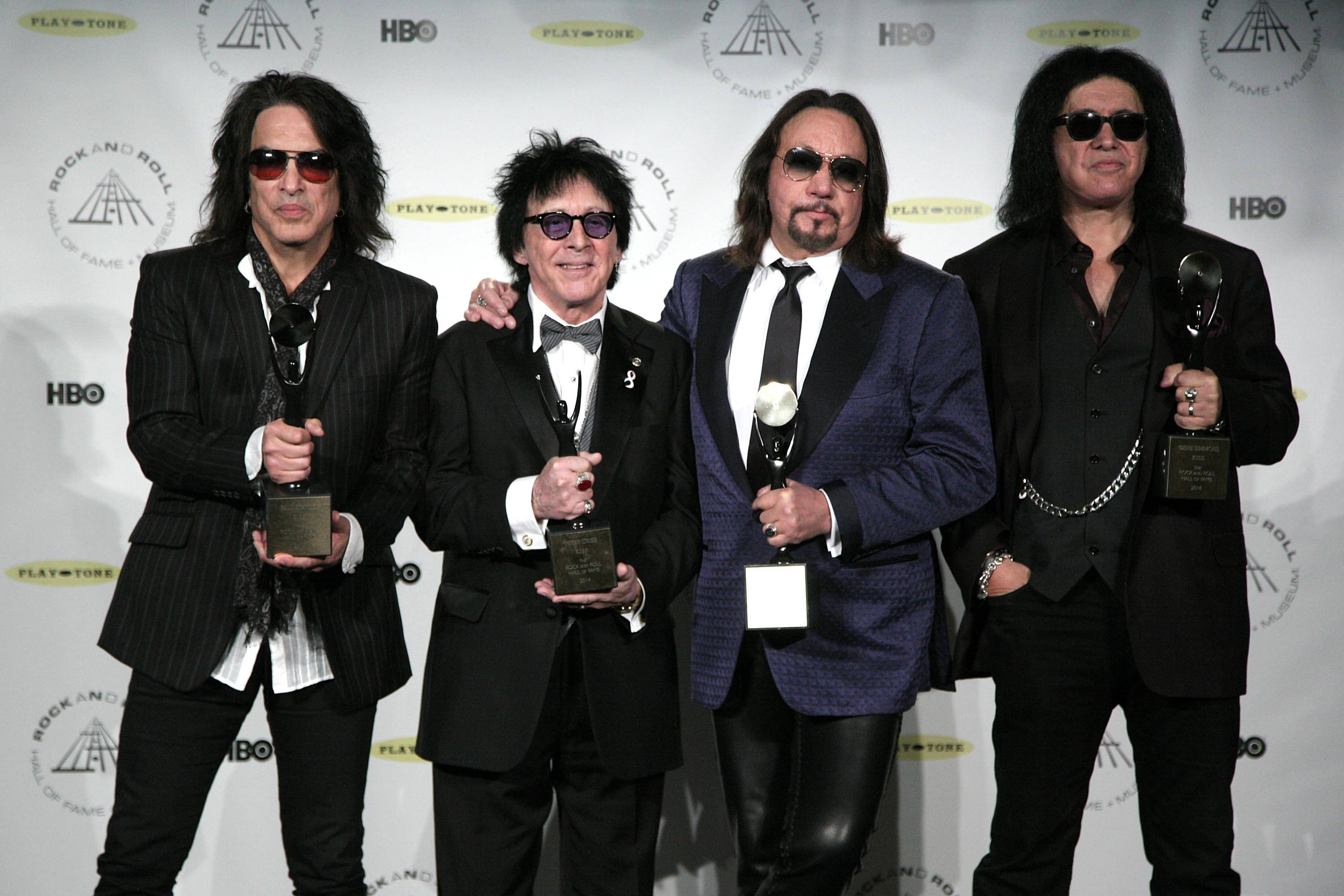 Kiss original band members Paul Stanley, Peter Criss, Ace Frehley and Gene Simmons were inducted into the Rock and Roll Hall of Fame Thursday.