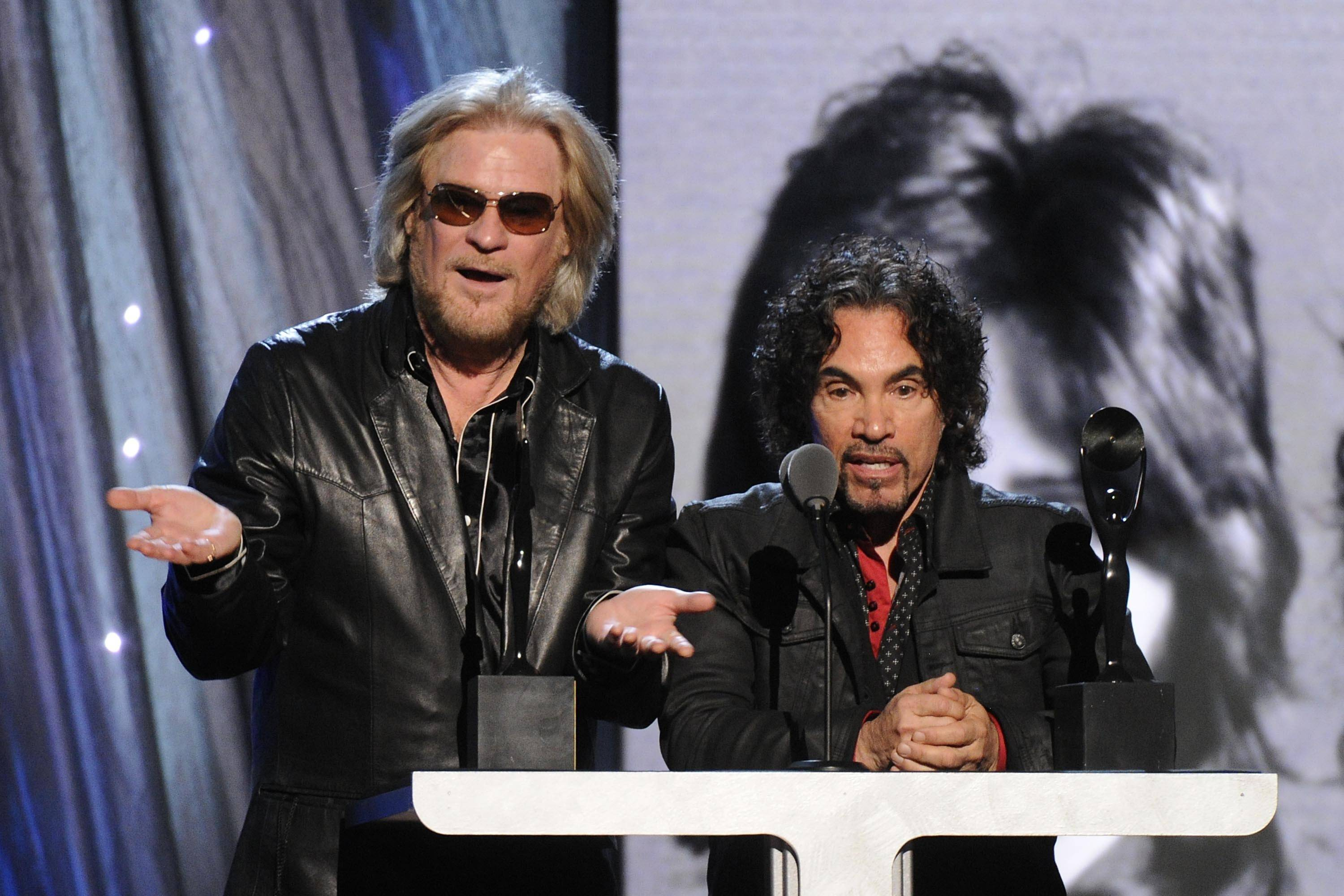 Hall of Fame Inductees, Hall and Oates, Daryl Hall and John Oates speak at the 2014 Rock and Roll Hall of Fame Induction Ceremony on Thursday.