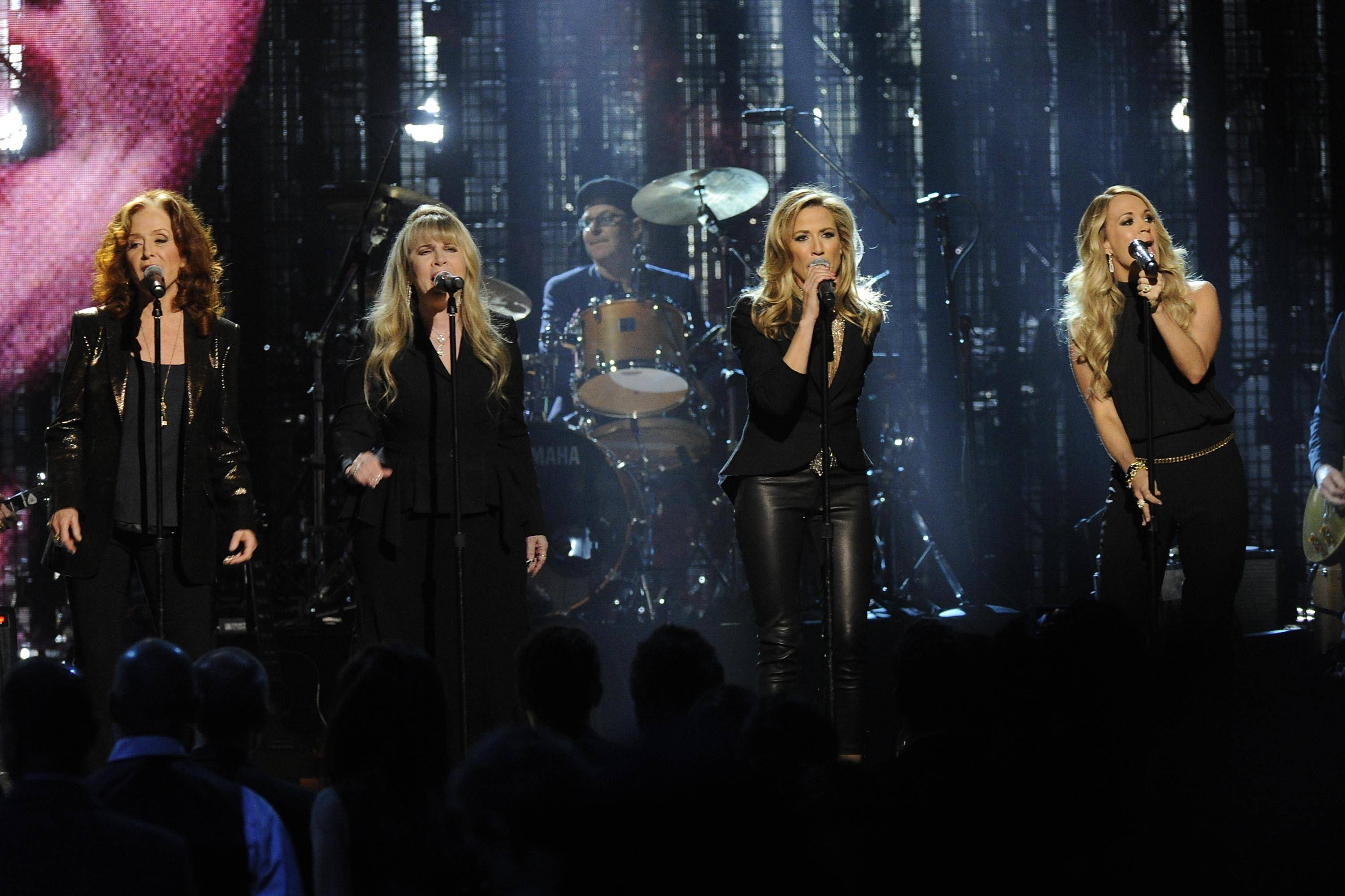 Bonnie Raitt, Stevie Nicks, Sheryl Crow and Carrie Underwood performed at the 2014 Rock and Roll Hall of Fame Induction Ceremony on Thursday.