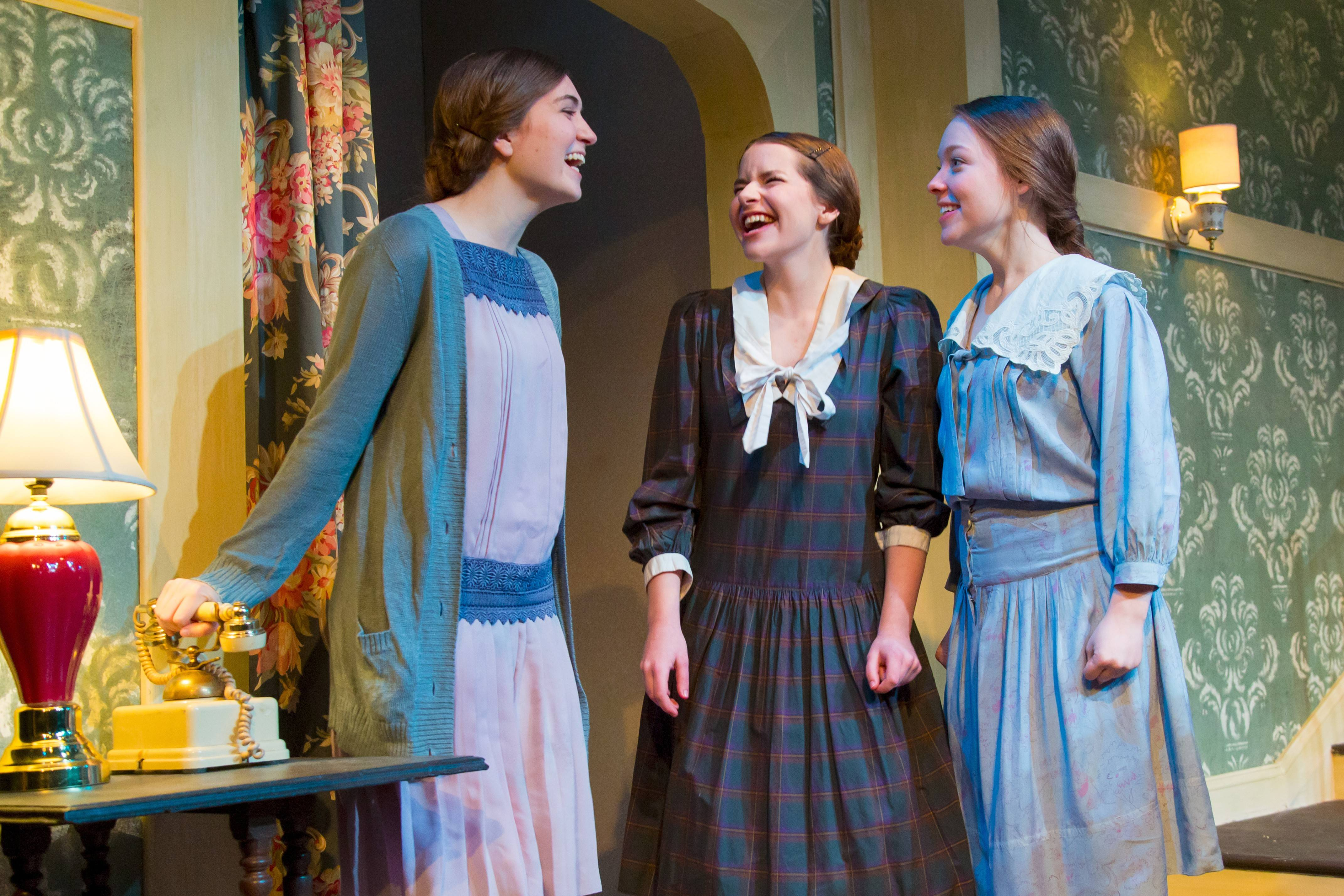 "Gilbreth sisters Anne (Kelsey Sante, left), Martha (Rachel Becker, center) and Ernestine (Grace Etzkorn) gush about boys in Fox Valley Repertory's revival of the family comedy, ""Cheaper by the Dozen."""