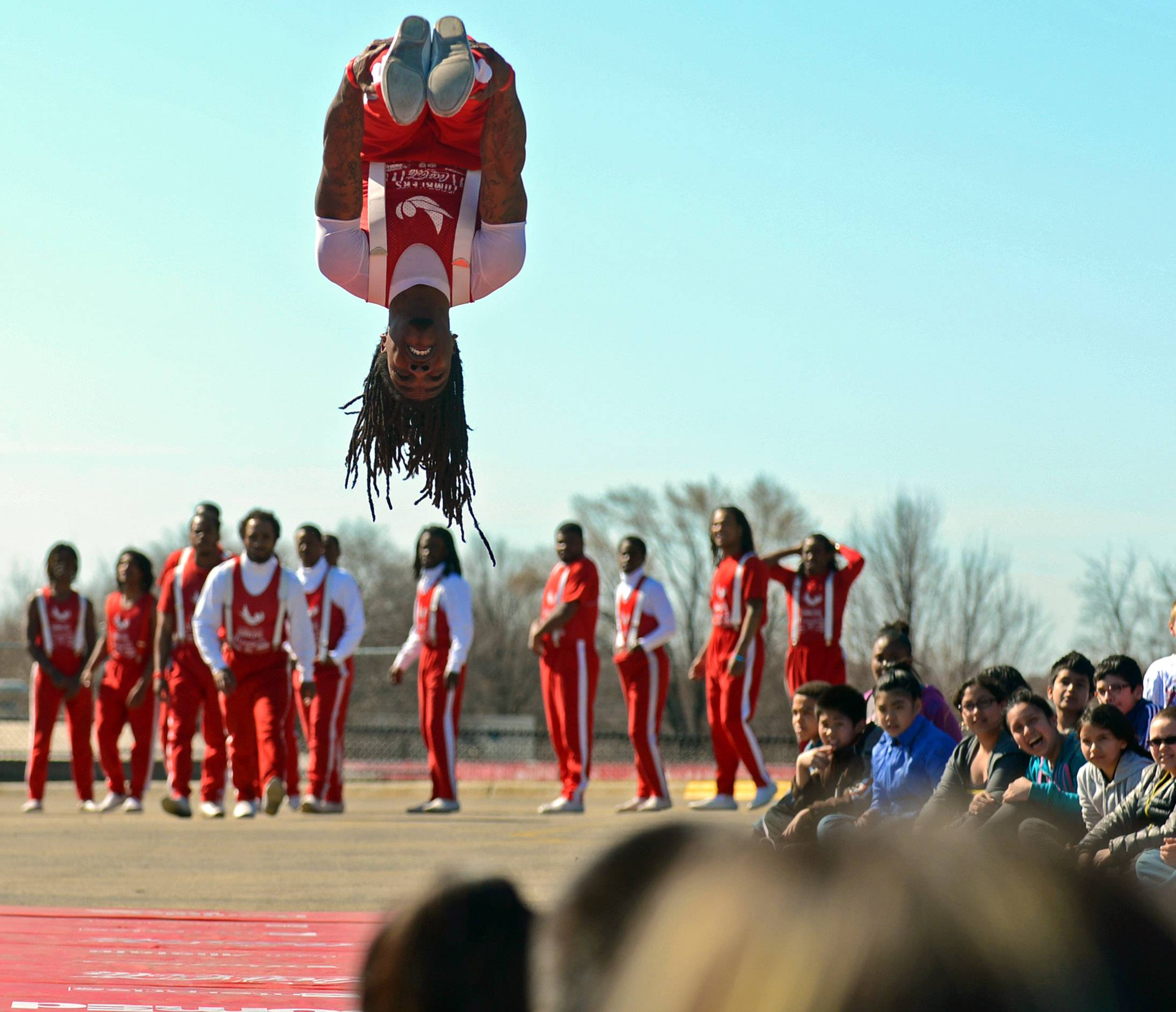The Jesse White Tumblers perform Friday at Hillcrest Elementary School in Elgin.