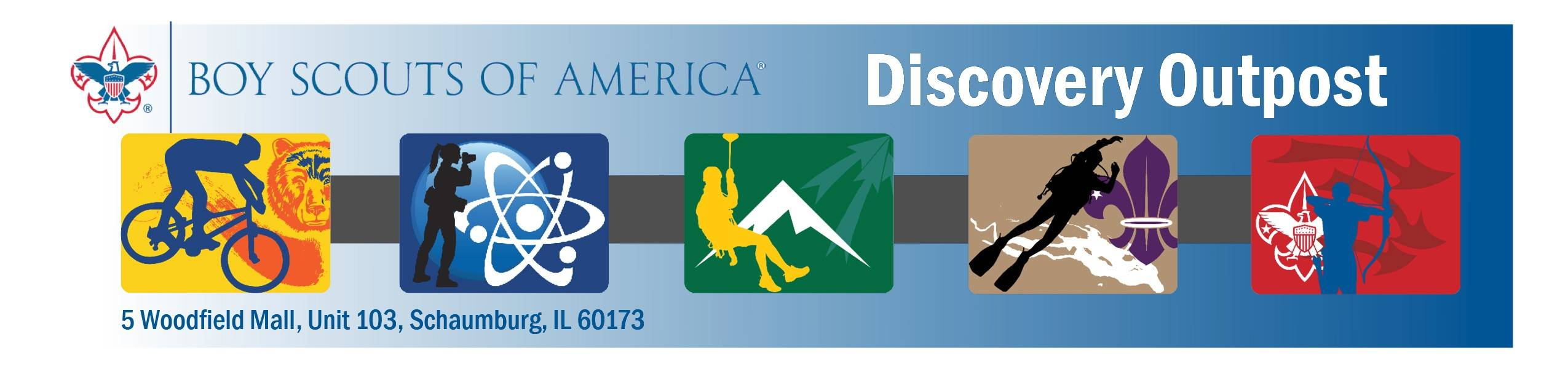 The official logo for the Boy Scouts of America Discovery Outpost coming to Woodfield Mall in Schaumburg.