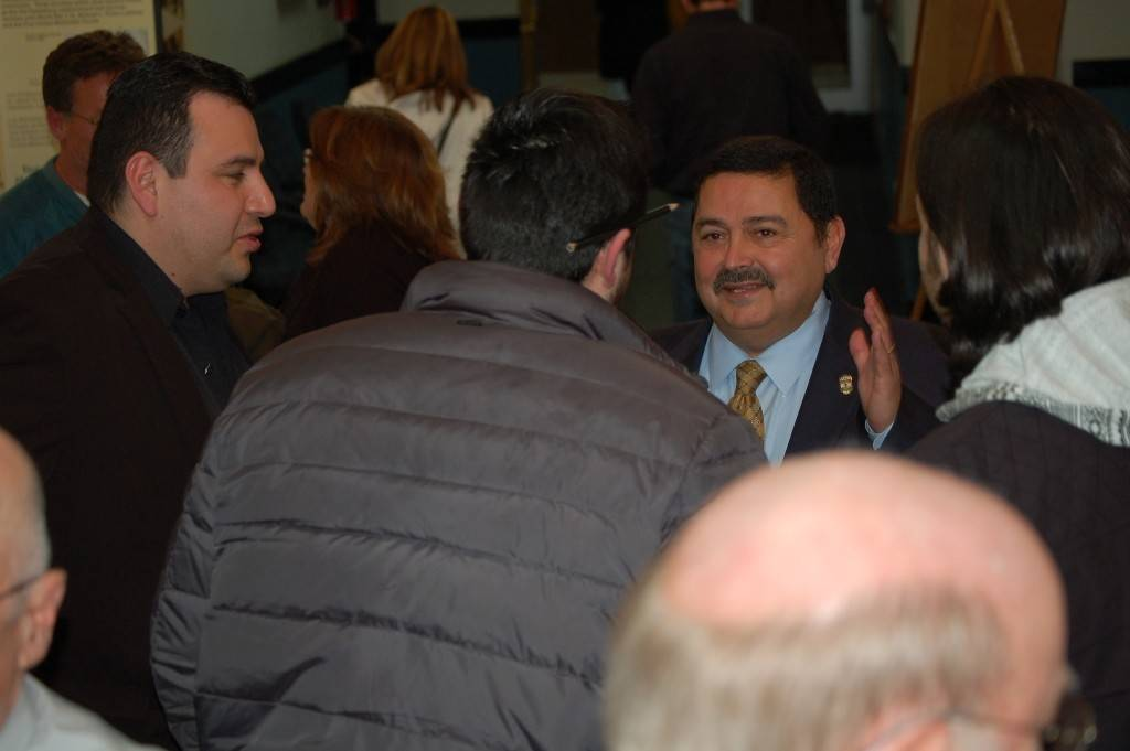 Mayor Ruben Pineda meets residents following the 2014 State of the City Address at City Hall.