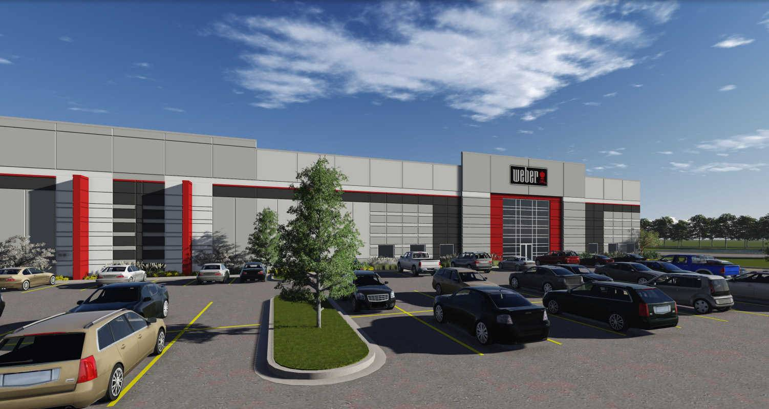 An artist's rendering of a proposed 757,120-square-foot Weber grill factory.