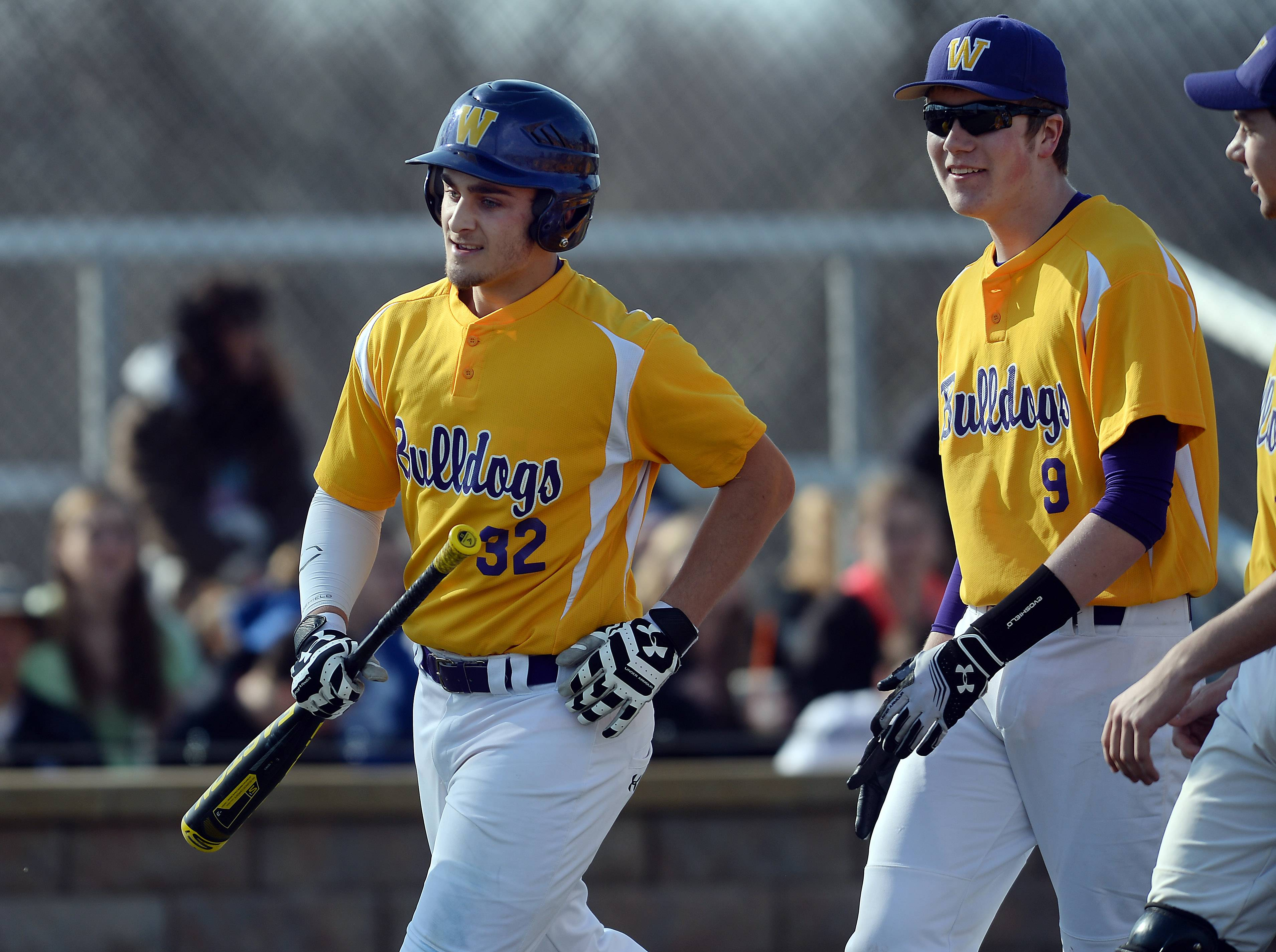 Wauconda's Ben Peterson (32) celebrates his first-inning homer against Lake Zurich's Austin Wells on Friday.