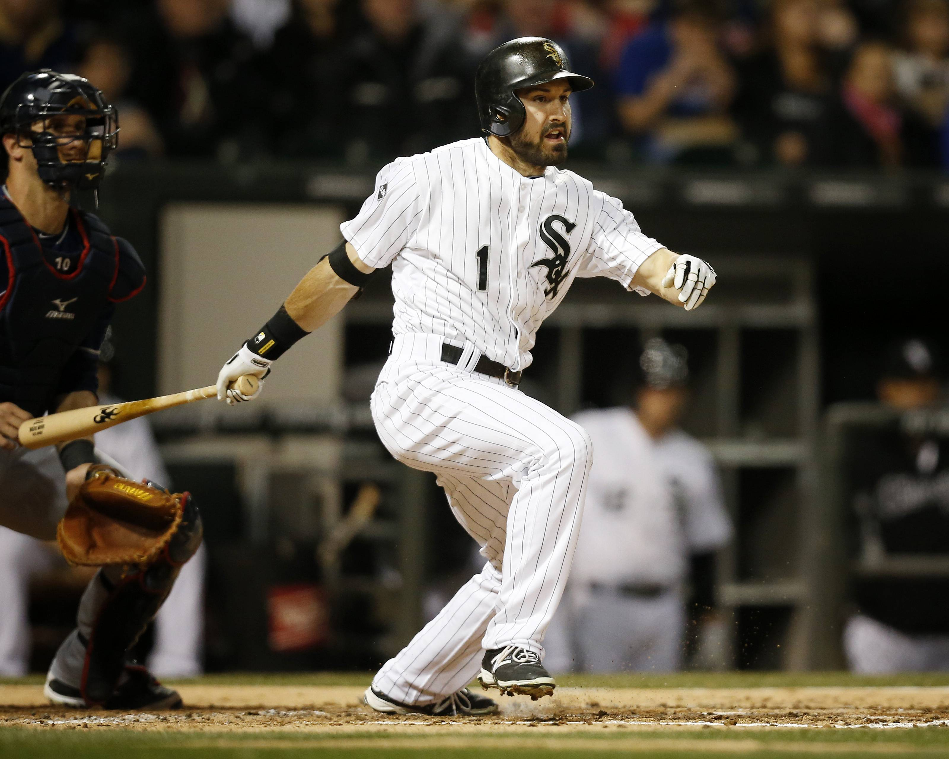 Adam Eaton hits an RBI double against Cleveland during the third inning Friday night at U.S. Cellular Field.