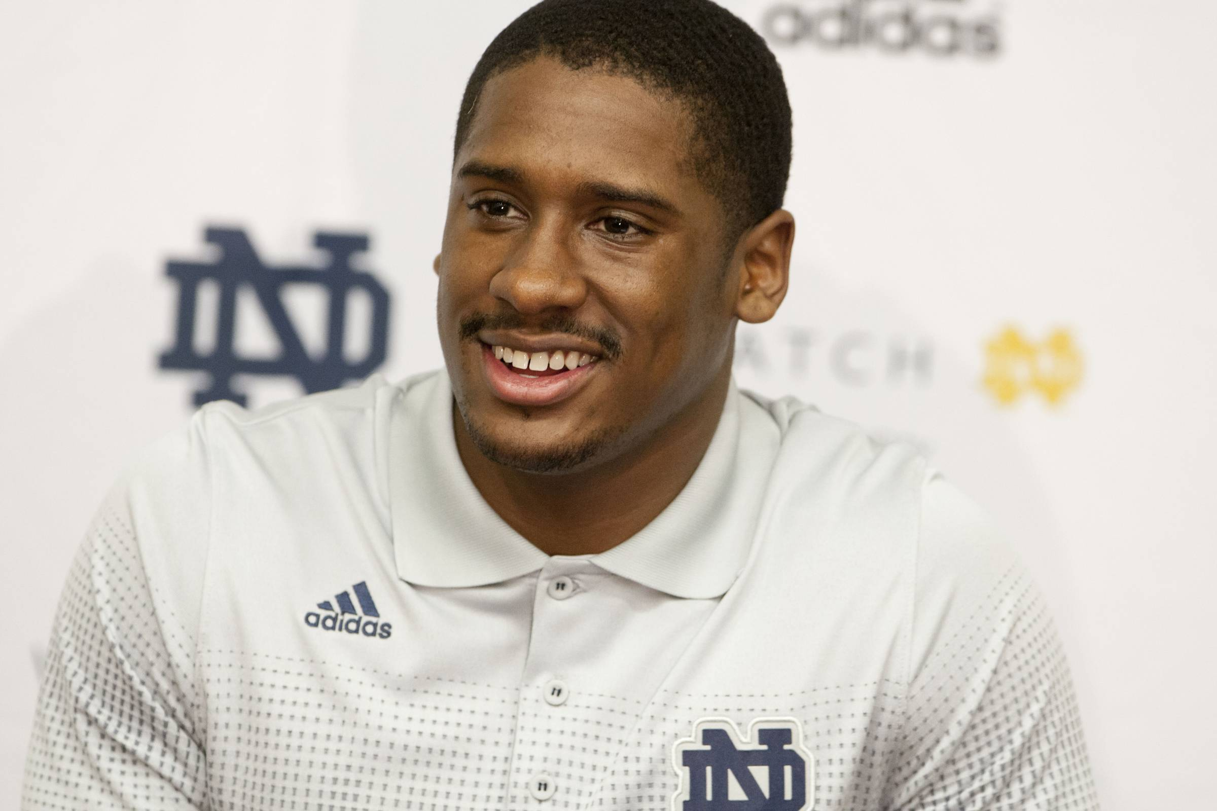 FILe - In this March 3, 2014 file photo, Notre Dame quarterback Everett Golson speaks to the media after the opening day of spring football practice in South Bend, Ind. Golson admits to being a bit jittery at the first day of spring practice last month after being suspended from school last fall for academic impropriety.