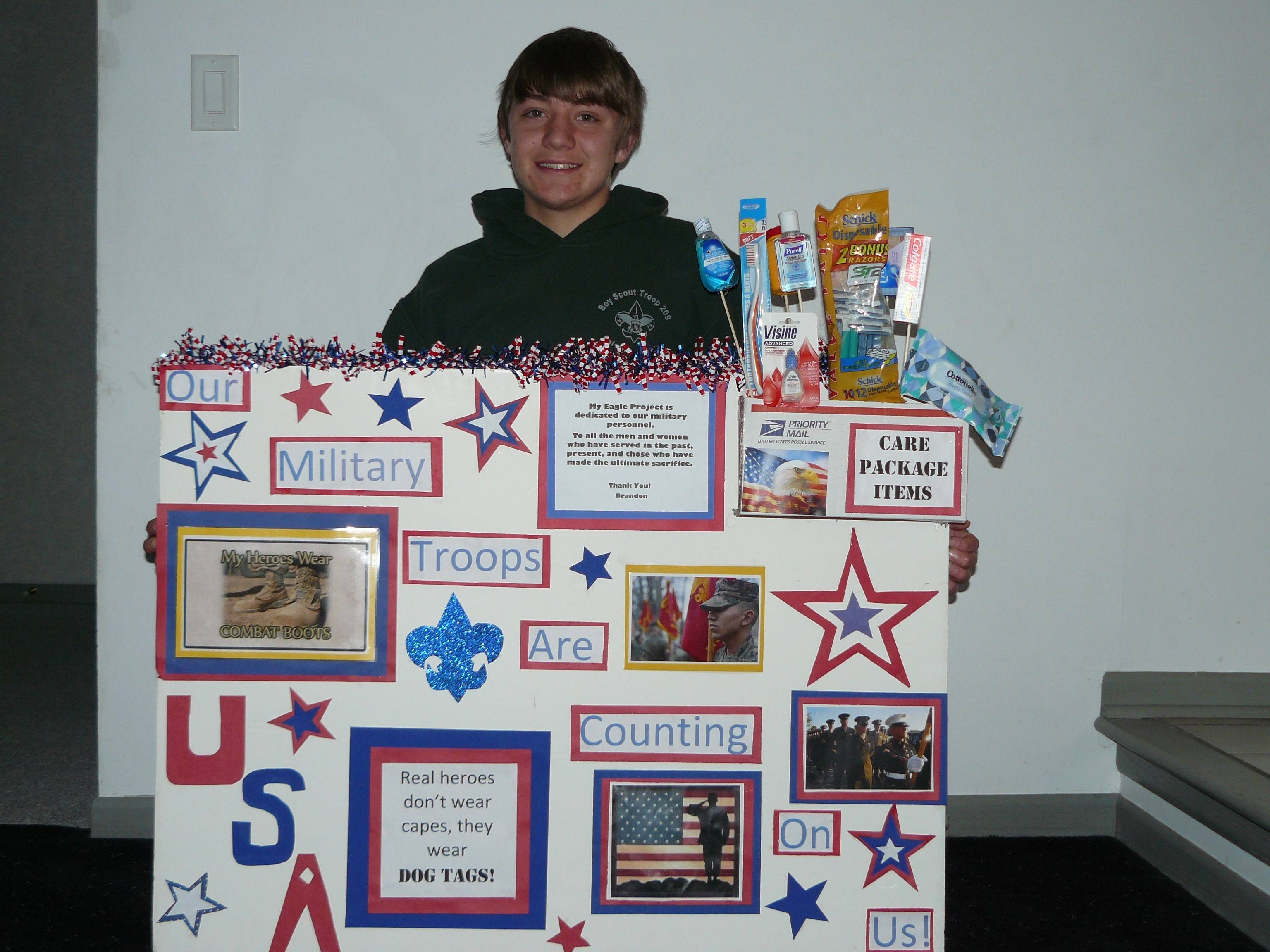 As part of his Eagle Scout project, Fremd High School freshman Brandon Matuszczak will hold a Care Package Drive for U.S. troops from noon to 4 p.m. Saturday, April 19, at Jewel, 45 S. Plum Grove Road, Palatine.
