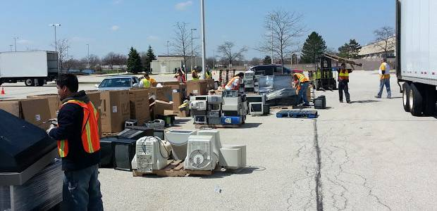 Electronic recycling area at 2013 Spring Sweep event.Village of Arlington Heights