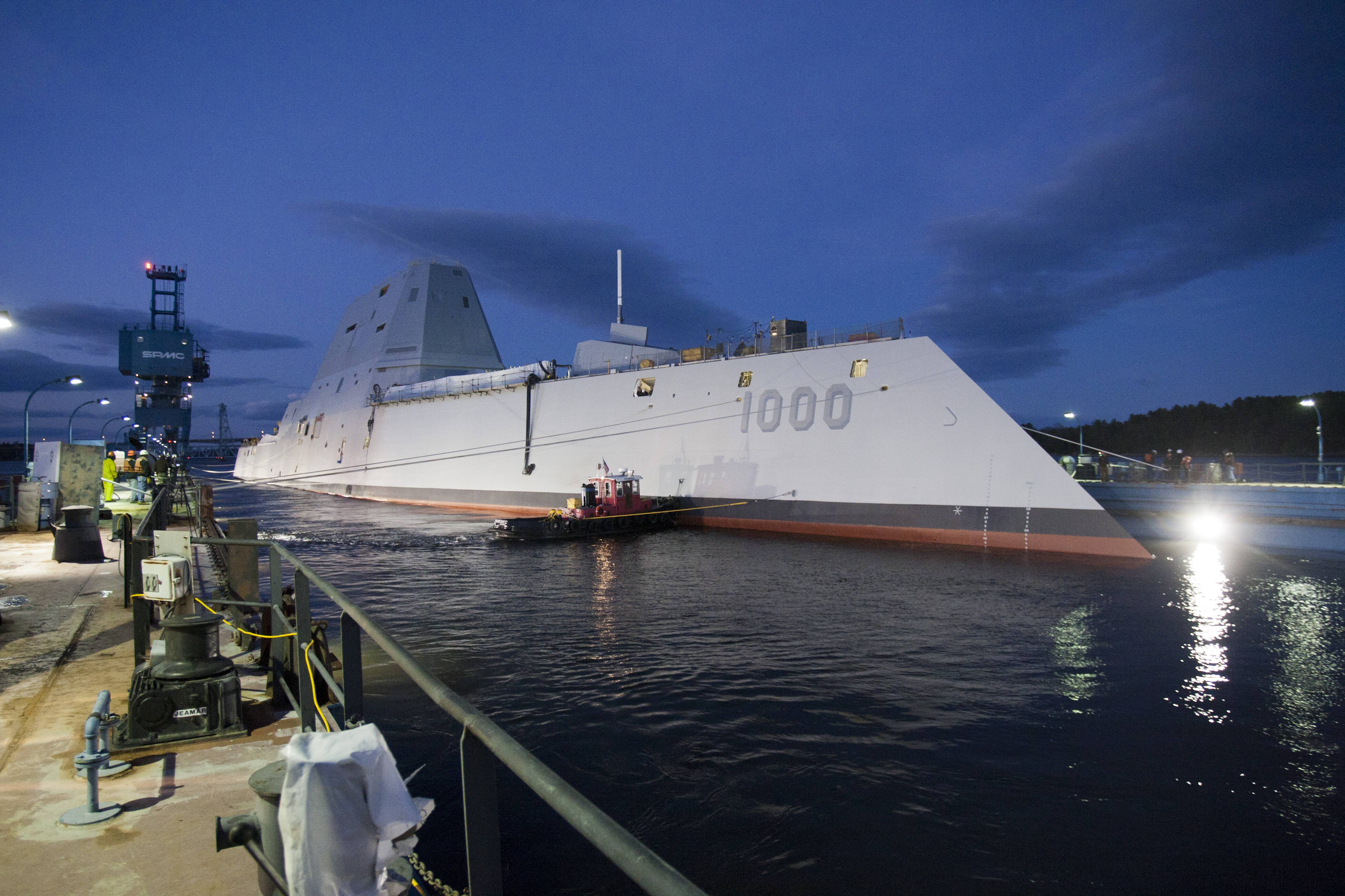 The Zumwalt-class guided-missile destroyer DDG 1000 is floated out of dry dock at the General Dynamics Bath Iron Works shipyard. The ship that bears his name, the first of three Zumwalt-class destroyers, was christened by Zumwalt's two daughters on Saturday.
