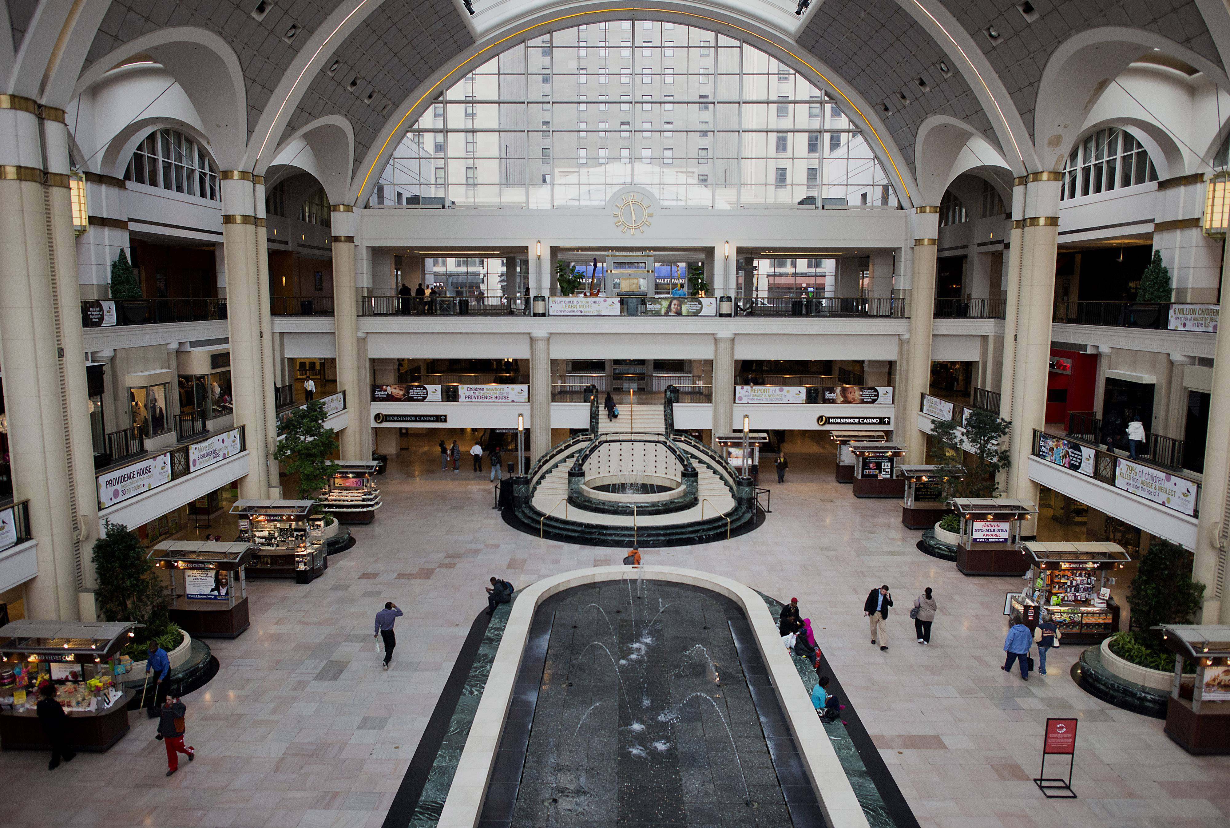 Shoppers walk through the Tower City Mall in Cleveland, Ohio, Wednesday.