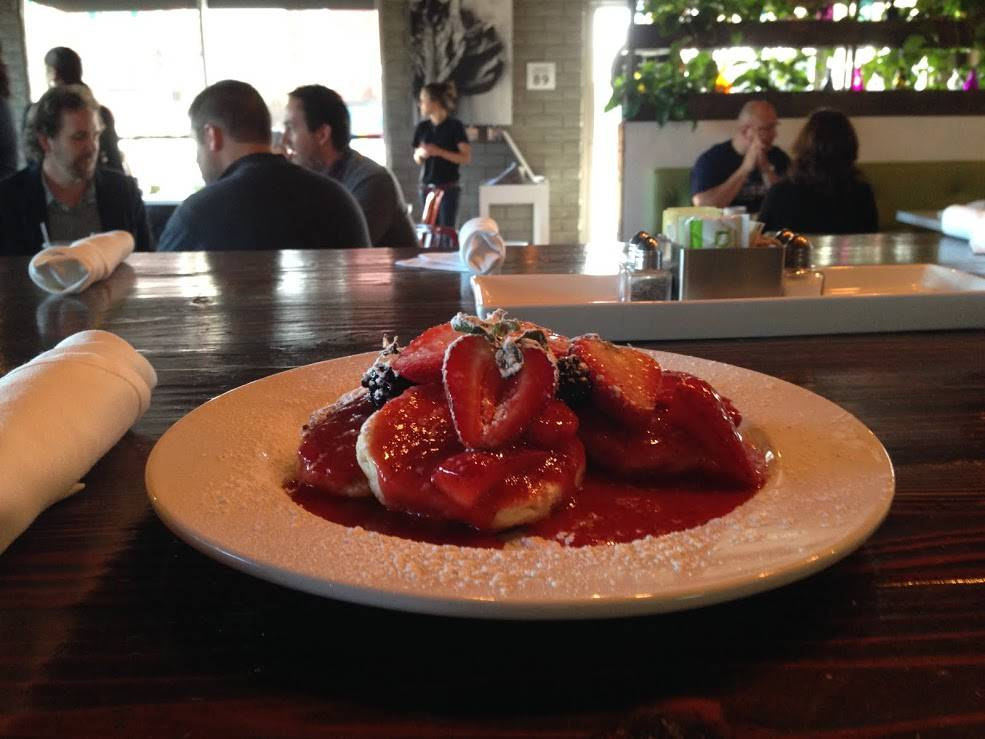 Cinnamon biscuits come drizzled with warm strawberry compote at Eat in downtown Las Vegas.