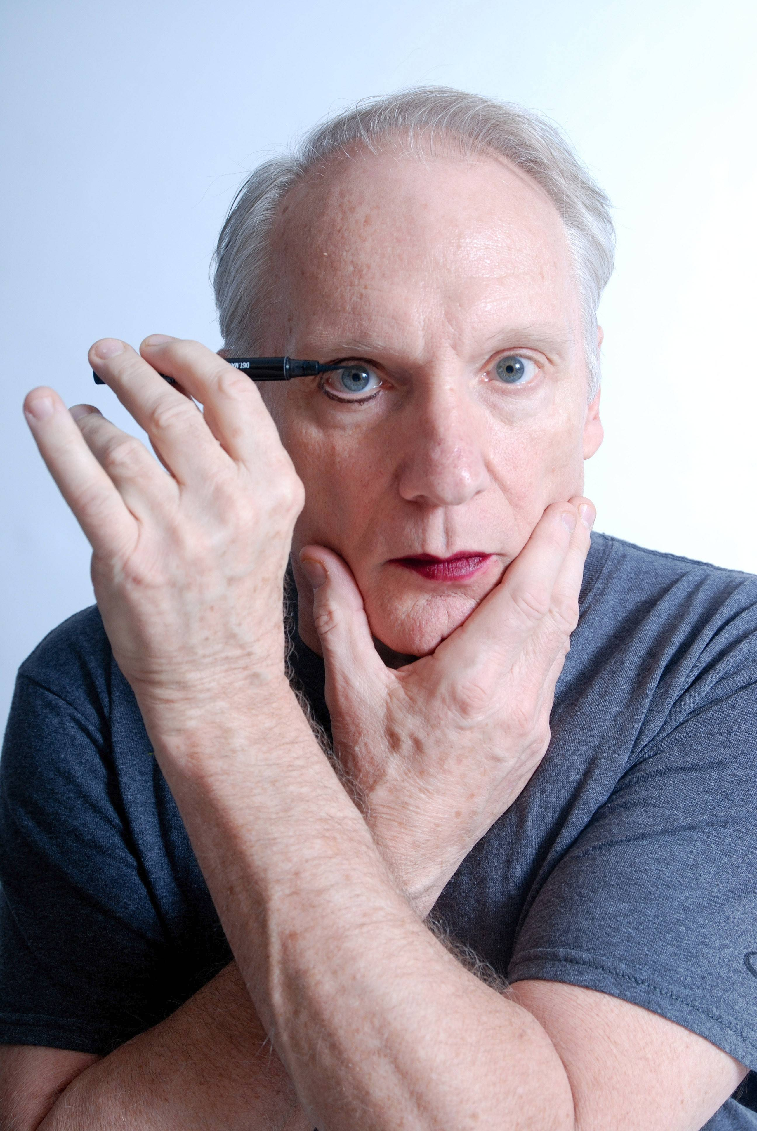 "Doug McDade stars as an intersex performance artists facing death in Rob Winn Anderson's world premiere drama ""A Fine Line"" at Clockwise Theatre in Waukegan from Friday, April 11, through Sunday, May 4."