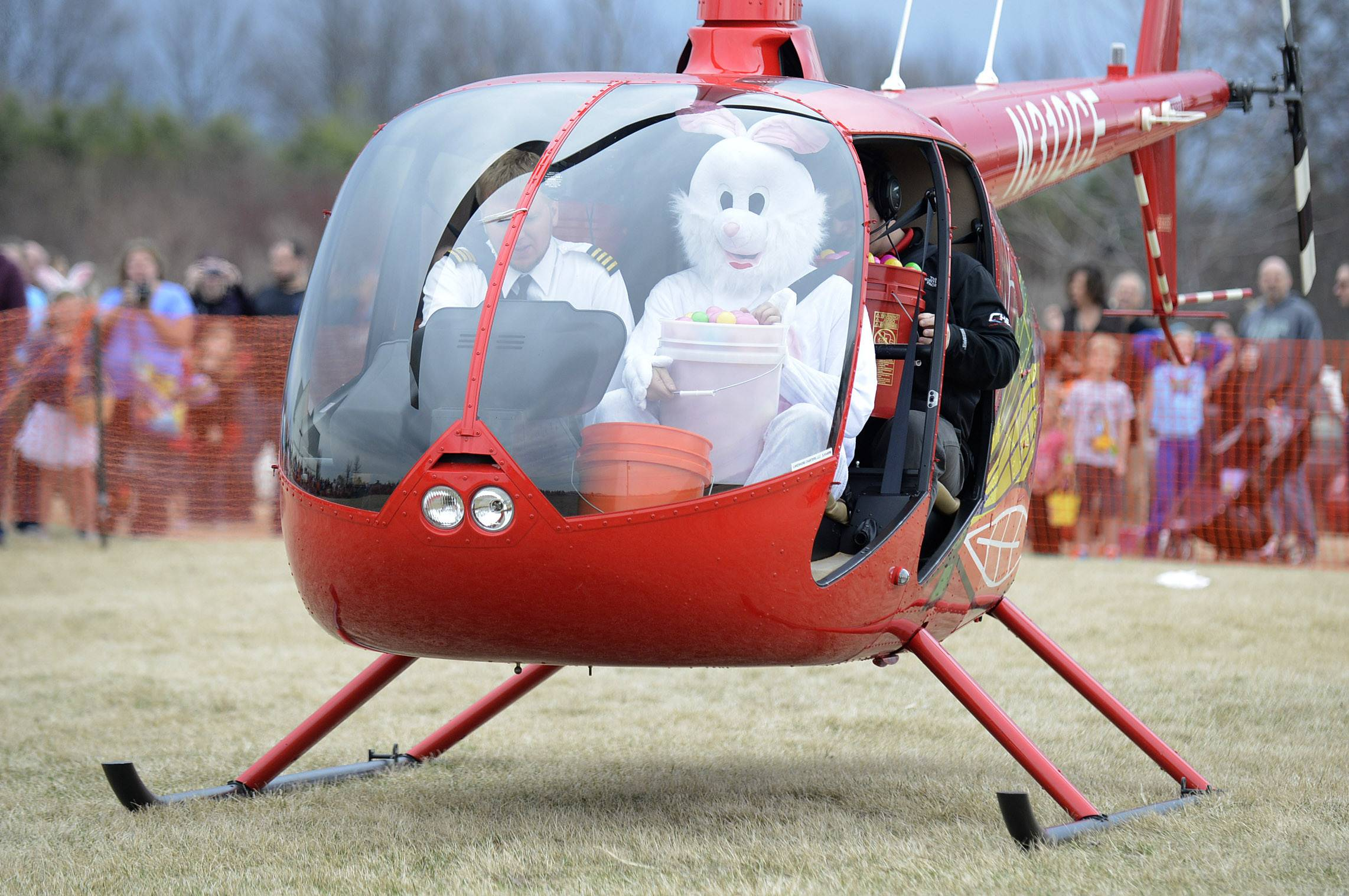 Easter Bunny Delivers Eggs To Geneva By Helicopter