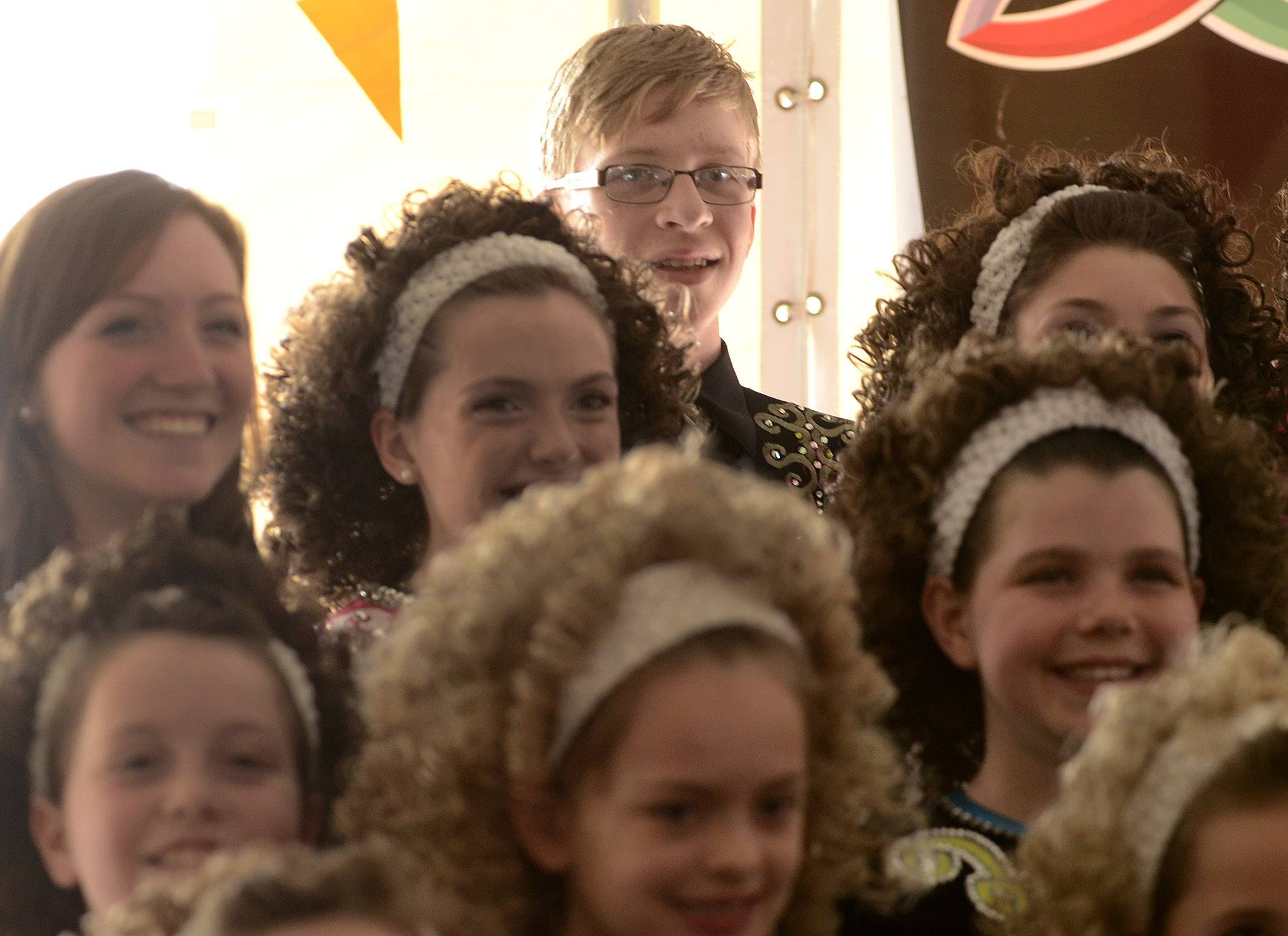Dancers from Trinity Academy of Irish Dance, including Colin Olsen of Poplar Grove, entertain during Irish Fest Saturday in Mount Prospect. Colin, 15, is one of three boys among 60 girls in the troupe.
