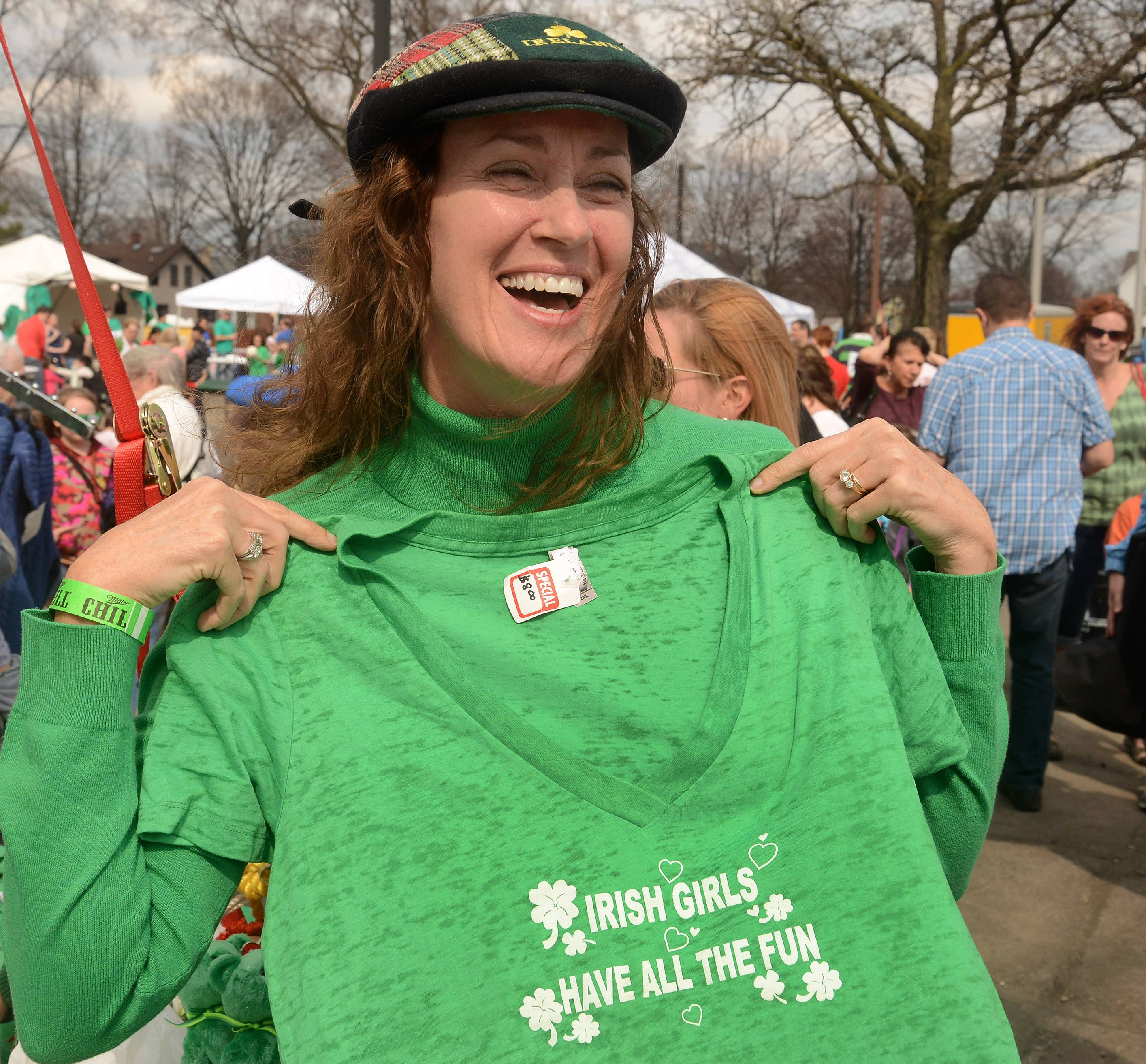 Meg McIlwee of Wilmette dons an Irish T-shirt during Mount Prospect's 3rd annual Irish Fest Saturday.