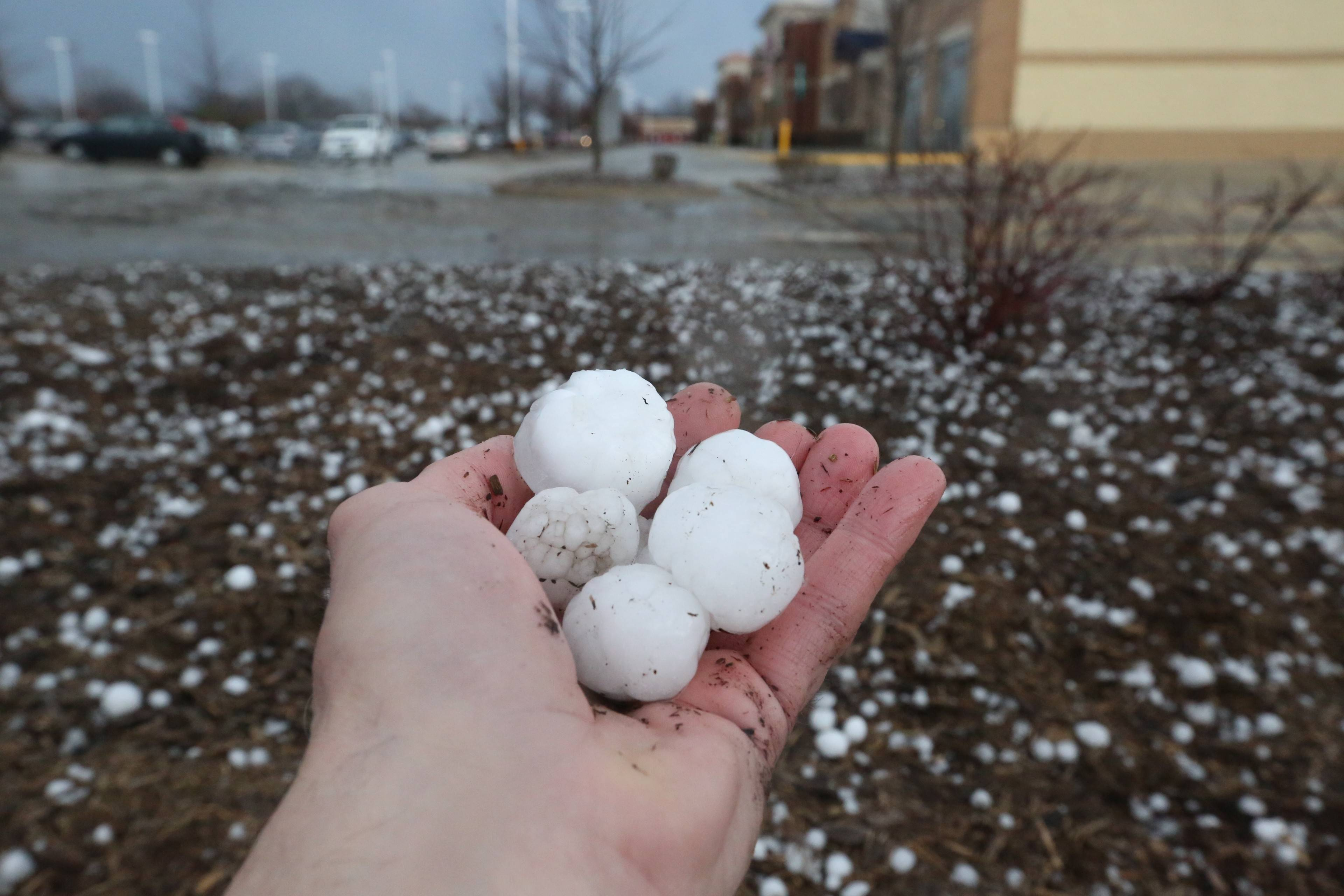 Lake Zurich was hit by large hail stones Saturday morning.