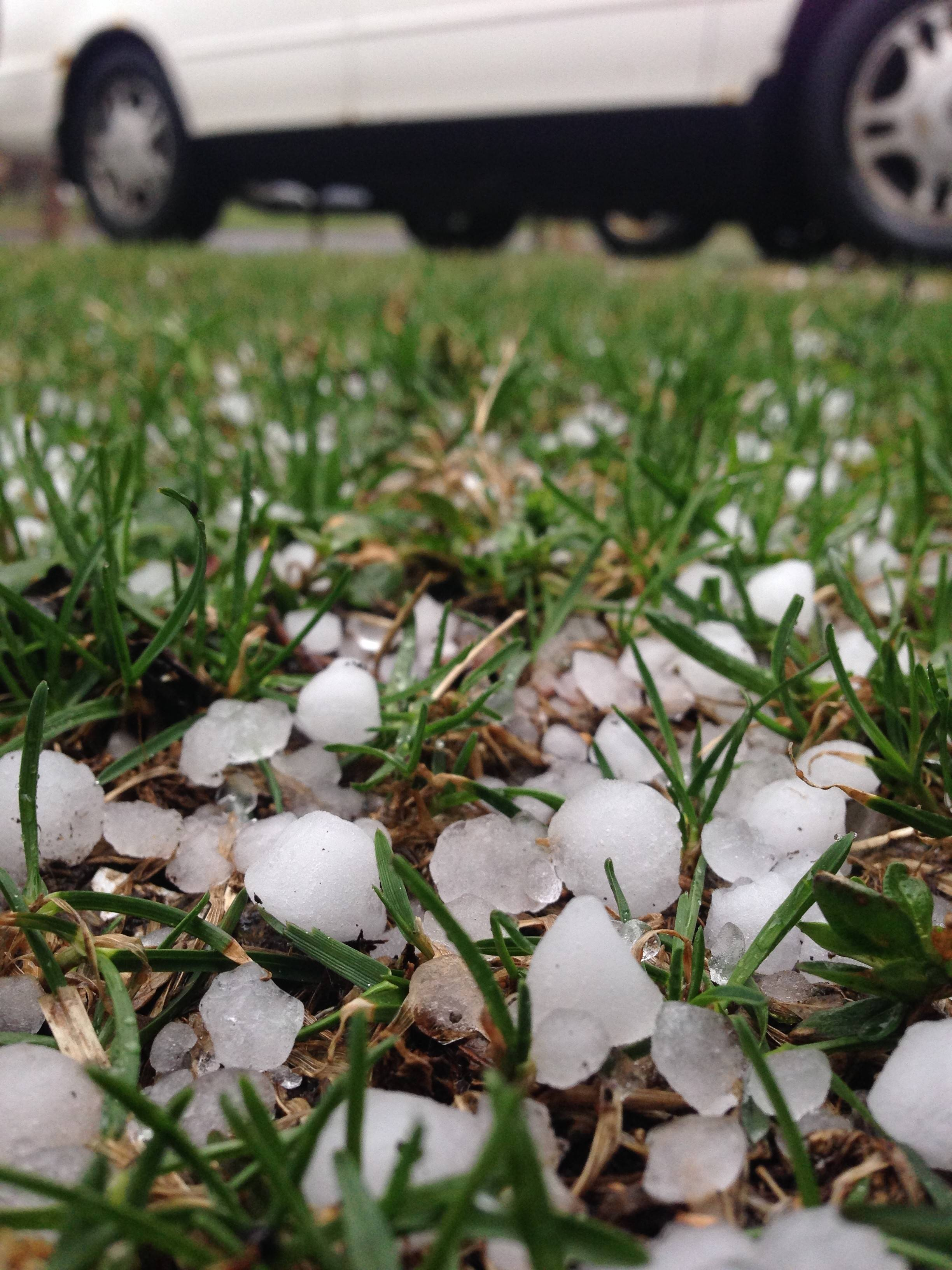 Paul Valade/pvalade@dailyherald.comBean-sized pellets of hail covered  parts of Crystal Lake during Saturday's severe storms.