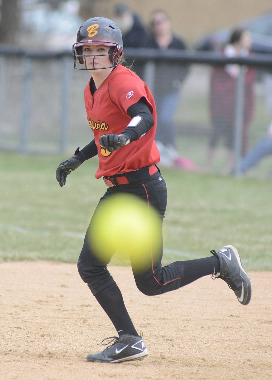 Batavia's Nicole Peercy makes a break for second base as the ball is pitched in the fourth inning on Saturday.