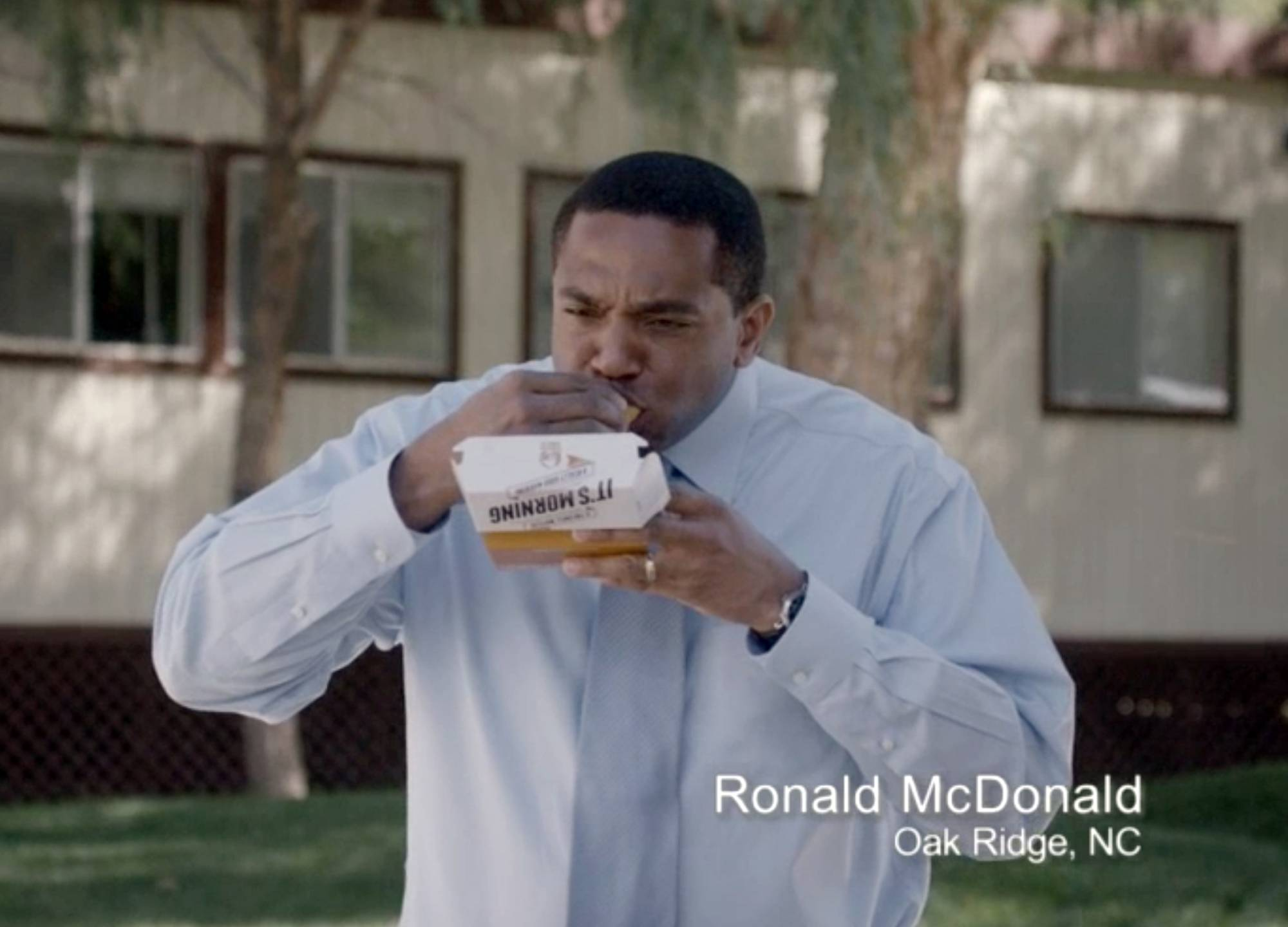 This frame grab from video provided by Taco Bell via Taylor Strategy shows Ronald McDonald of Oak Ridge, N.C., in a Taco Bell commercial. The fast-food chain is promoting its new breakfast menu, which features novelties like a waffle taco.
