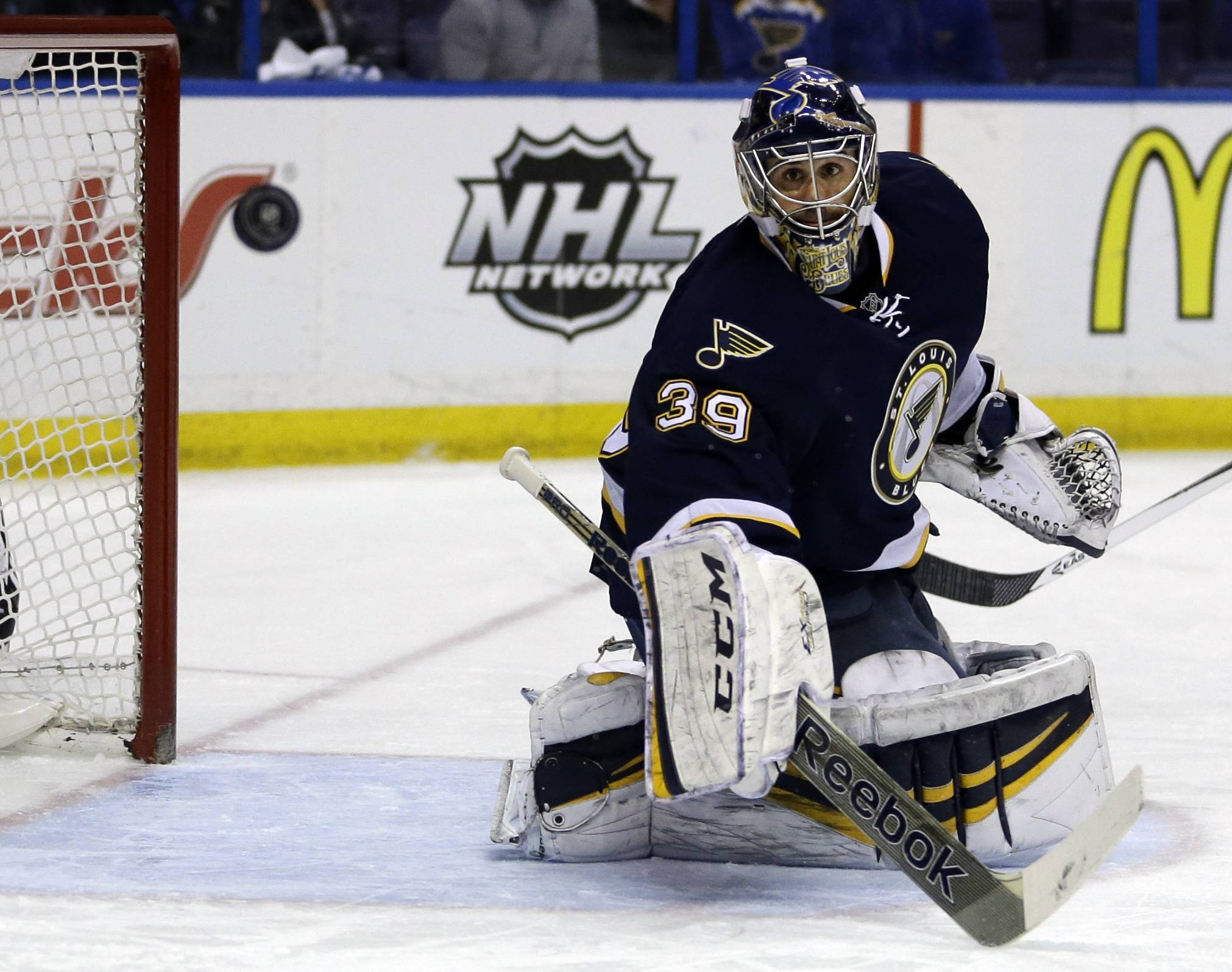 The Blackhawks will open the playoffs on the road this week against the St. Louis Blues and goalie Ryan Miller.