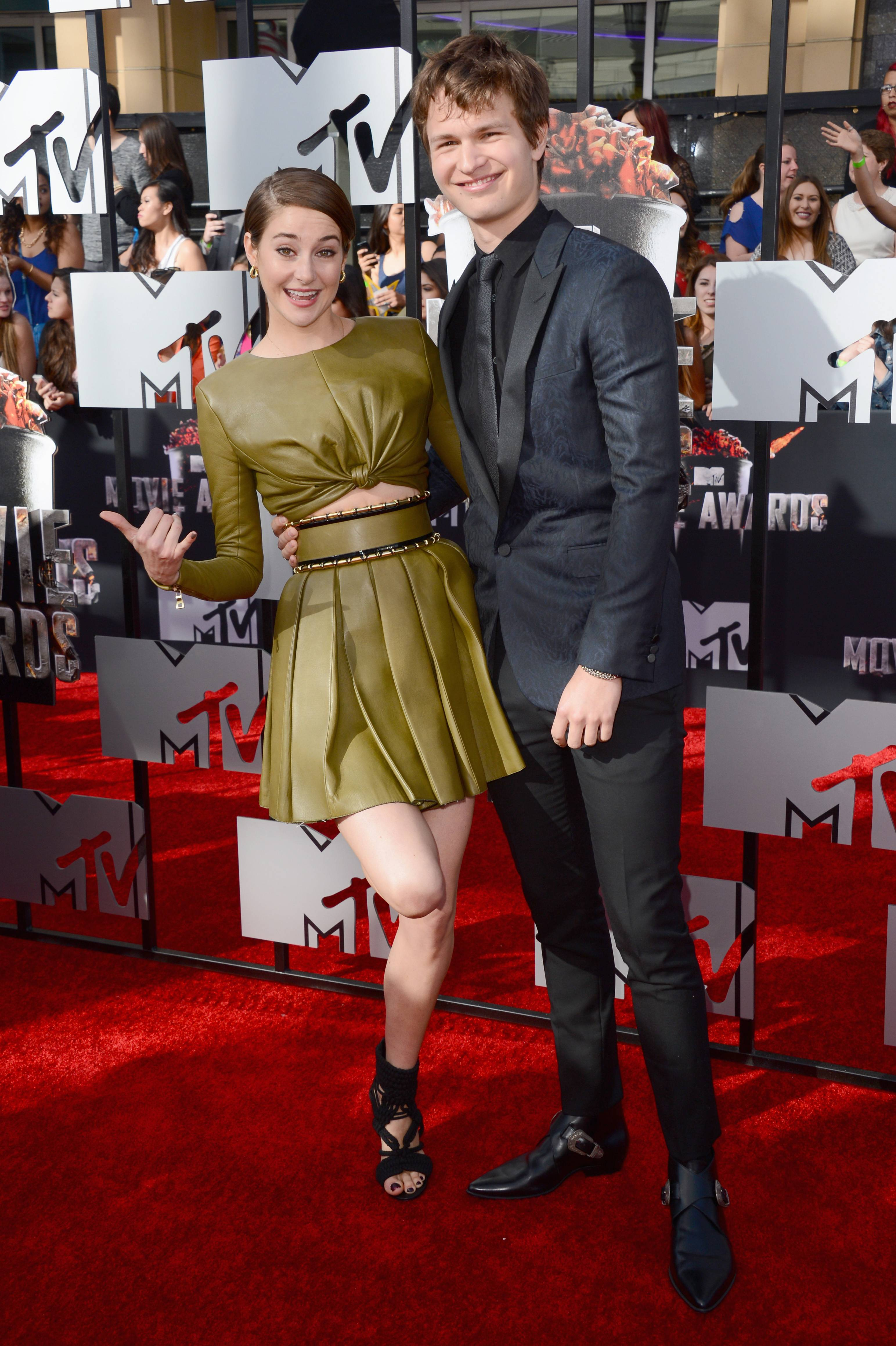 Shailene Woodley, left, and Ansel Elgort arrive at the MTV Movie Awards on Sunday.